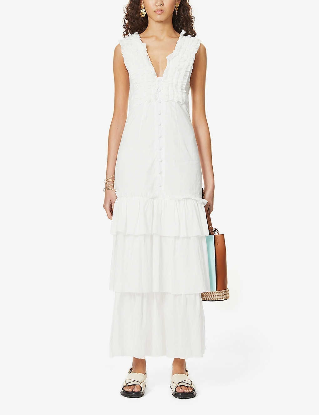 JOSLIN Stacey Tiered Cotton Maxi Dress