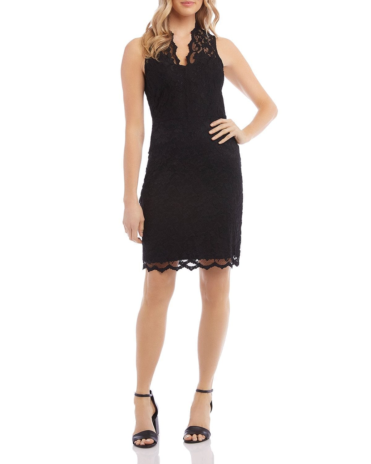 KAREN KANE Sleeveless Lace Sheath Dress
