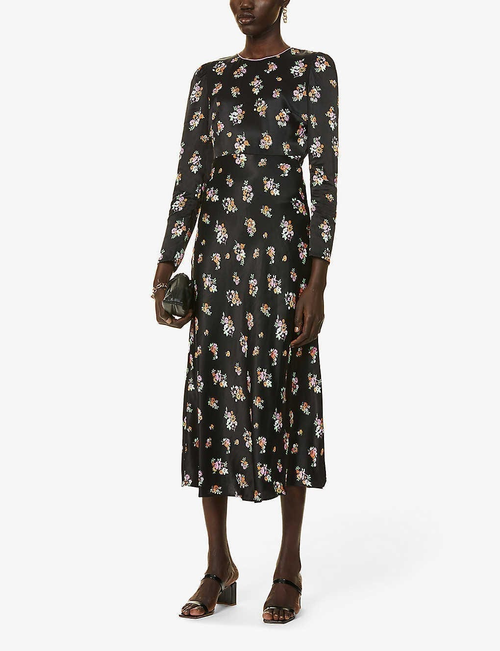 KITRI Anna Ditsy Floral-print Satin Midi Dress