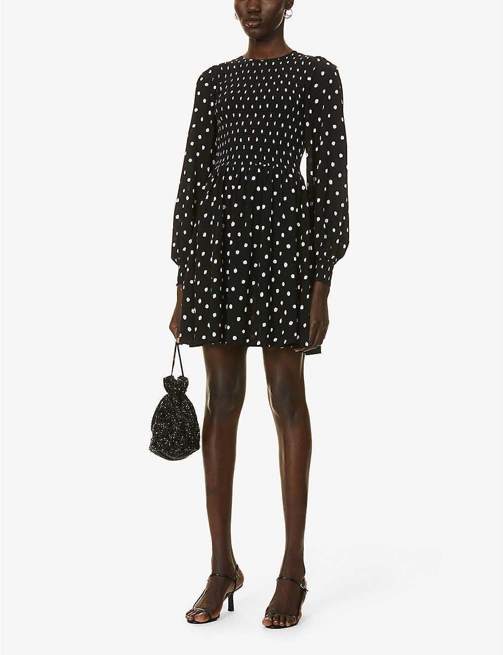 KITRI Mathilde Polka Dot-patterned Crepe Mini Dress