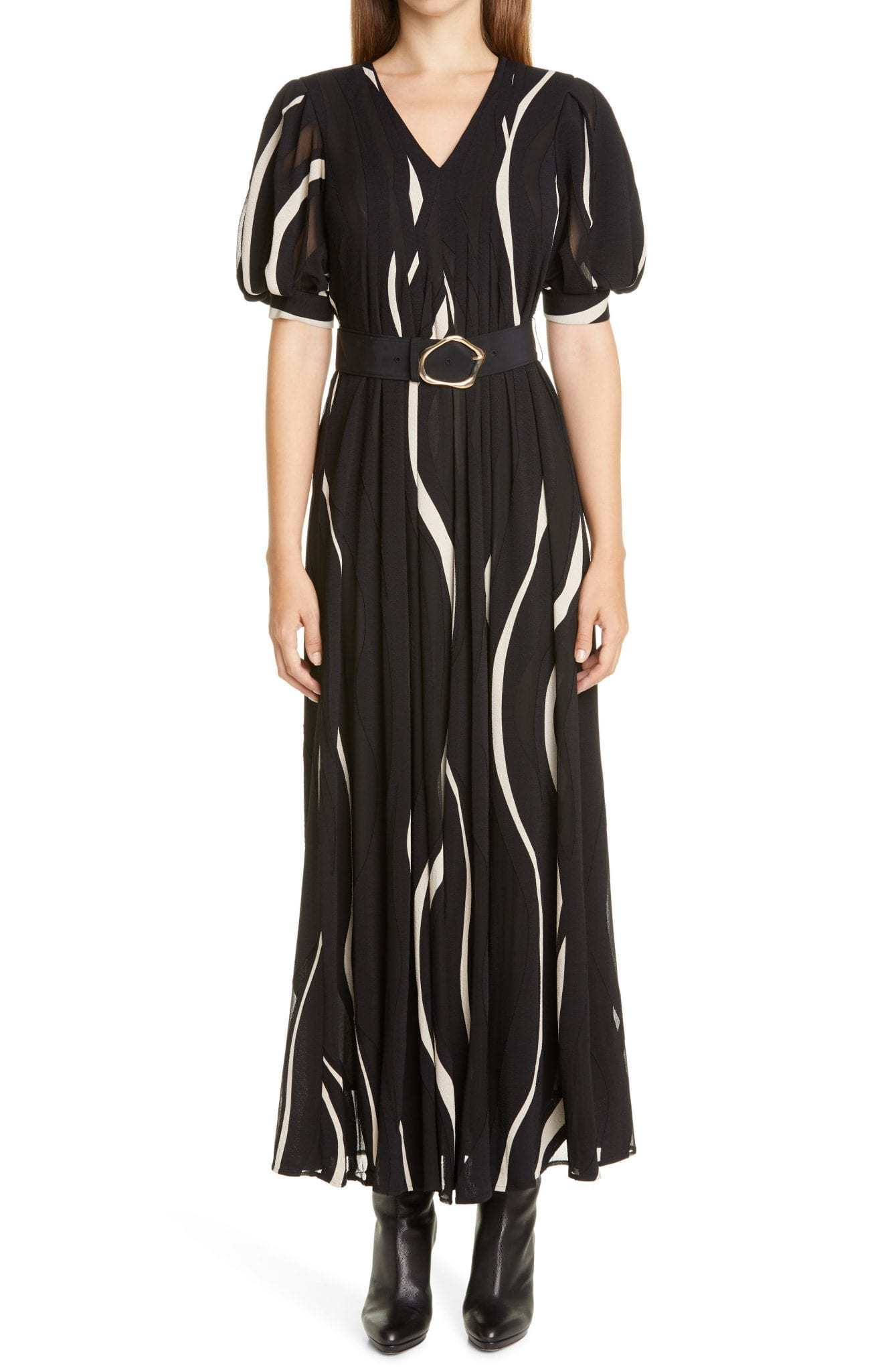 LAFAYETTE 148 NEW YORK Sutherland Wave Panel Belted Dress