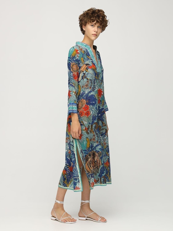 LE SIRENUSE POSITANO Giada Tiger Print Cotton Long Dress