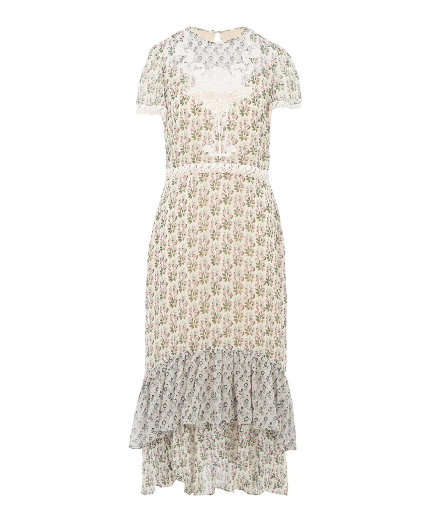 LIBERTY Celia Embroidered Silk Midi Dress
