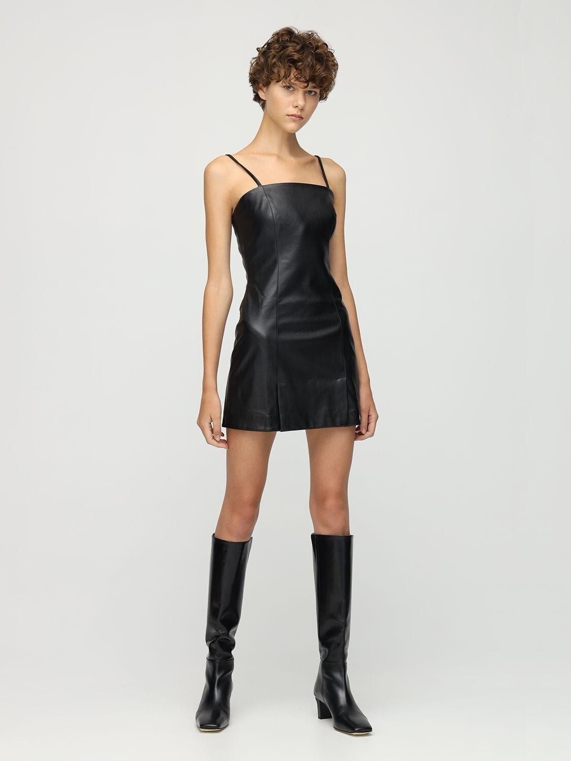 LIYA Faux Leather Mini Dress