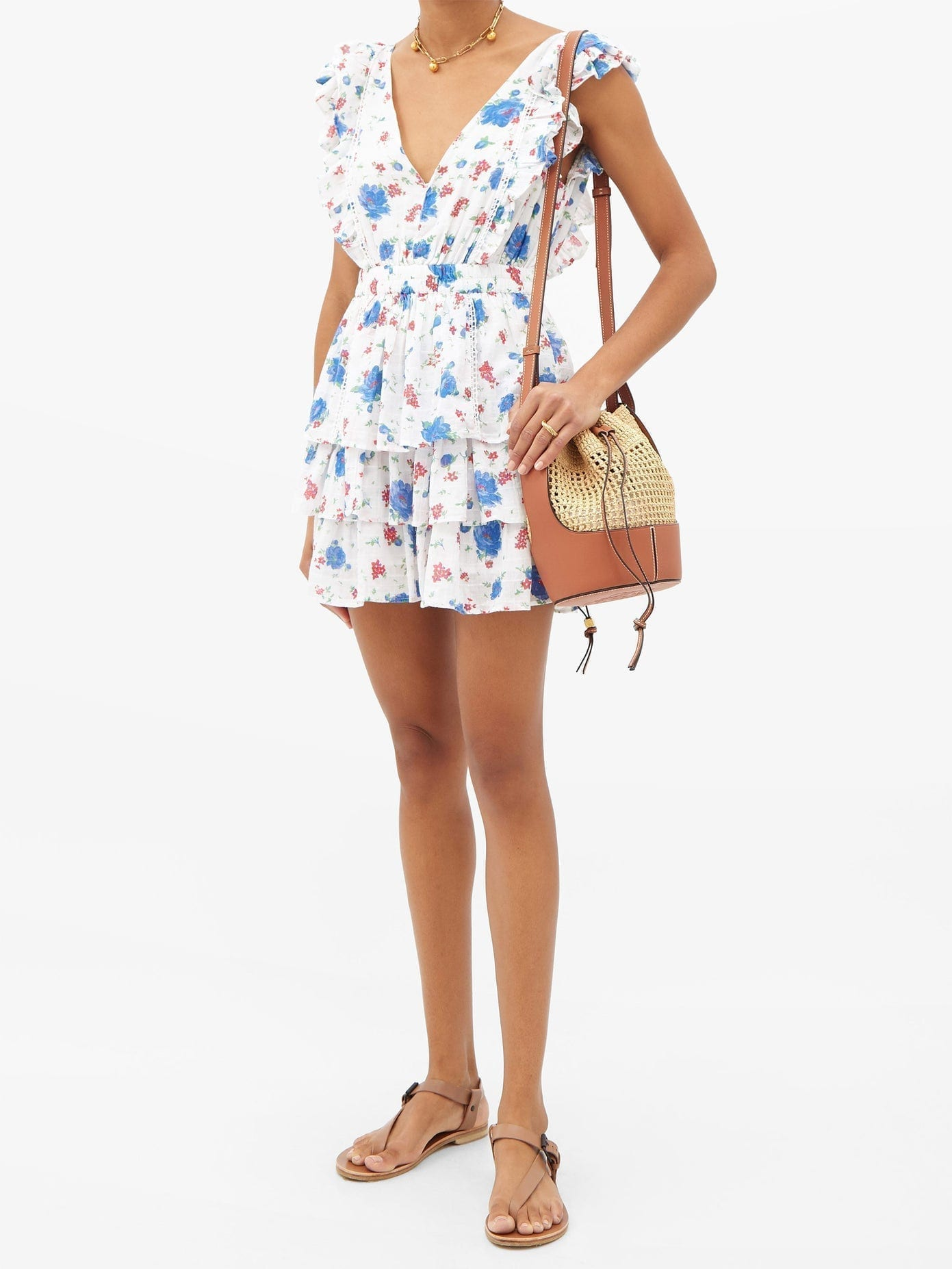 LOVESHACKFANCY Bennett Floral-print V-neck Cotton Mini Dress