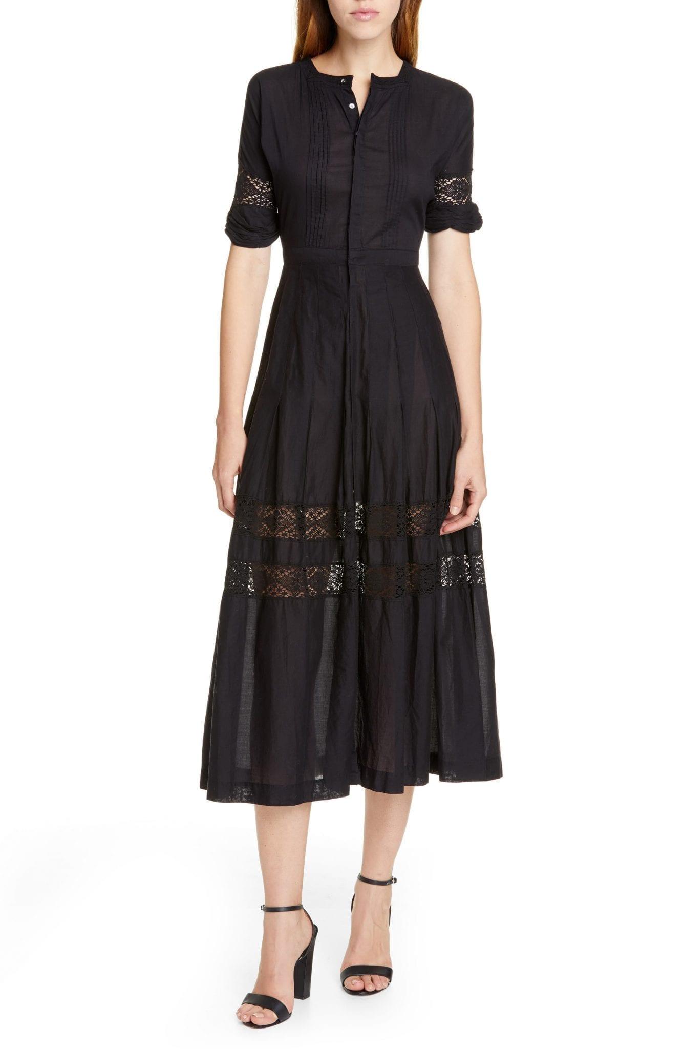 LOVESHACKFANCY Edie Midi Shirt Dress