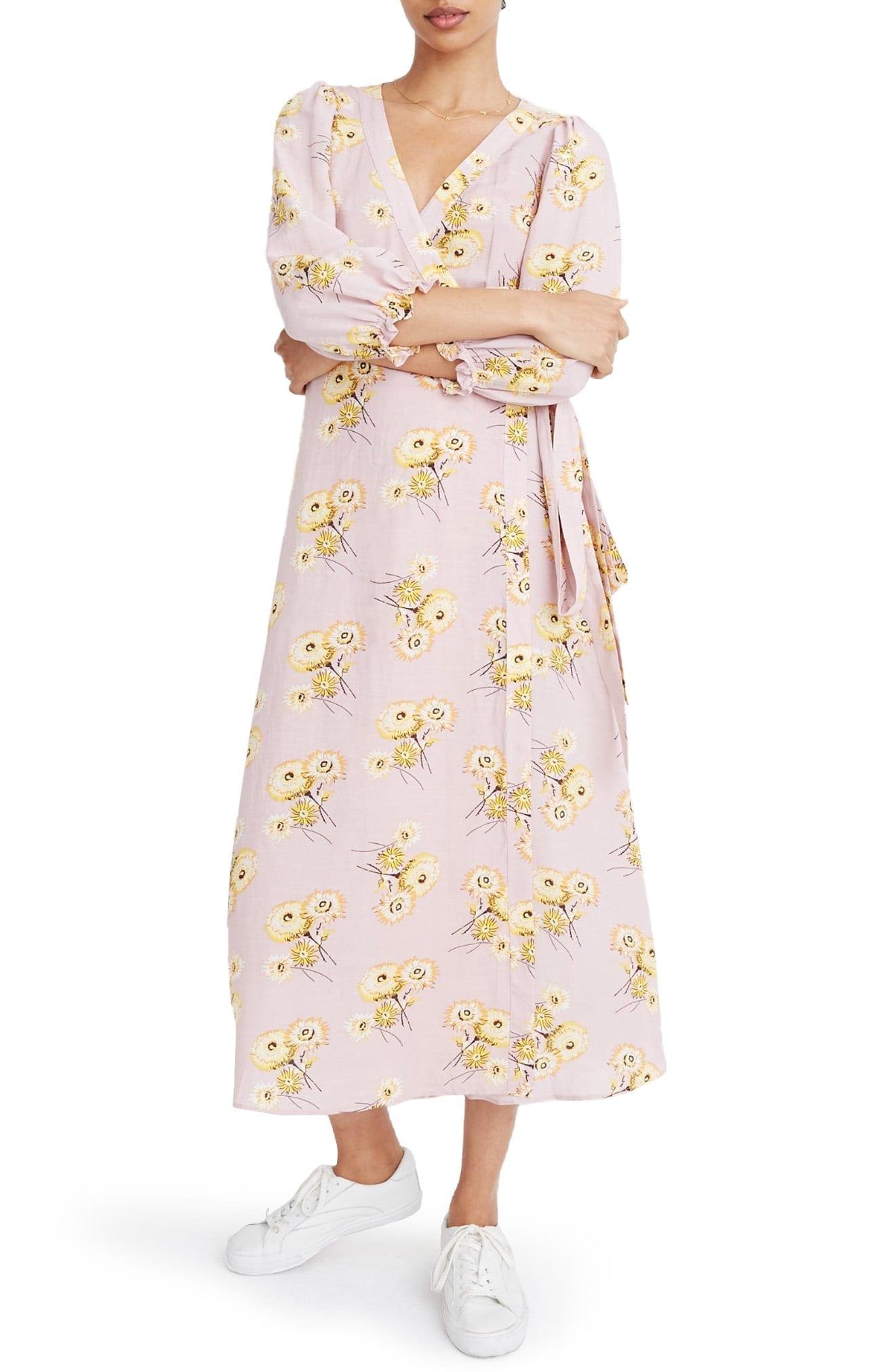 MADEWELL Dandelion Print Ruffle Cuff Linen Blend Wrap Dress