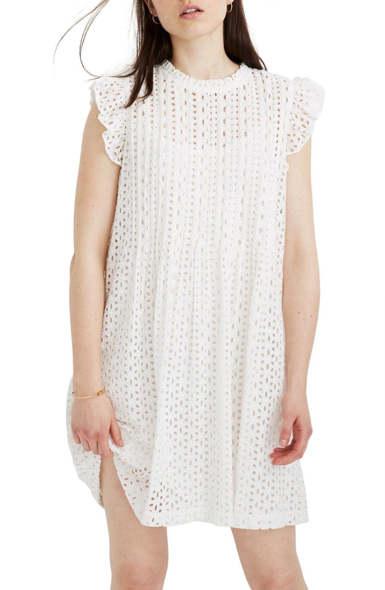 MADEWELL Eyelet Ruffle Sleeve Pintuck Mini Dress