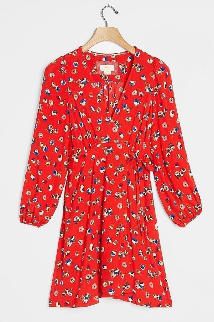 MAEVE Petunia Wrap Mini Dress
