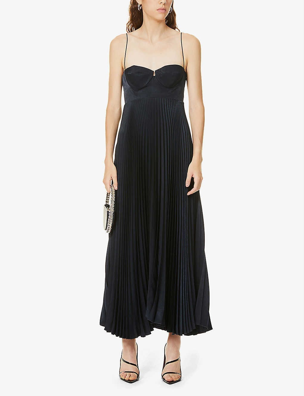 MAGDA BUTRYM Pleated Satin Midi Dress