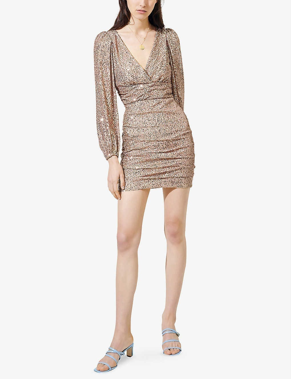 MAJE Long-sleeve Sequinned Mini Dress