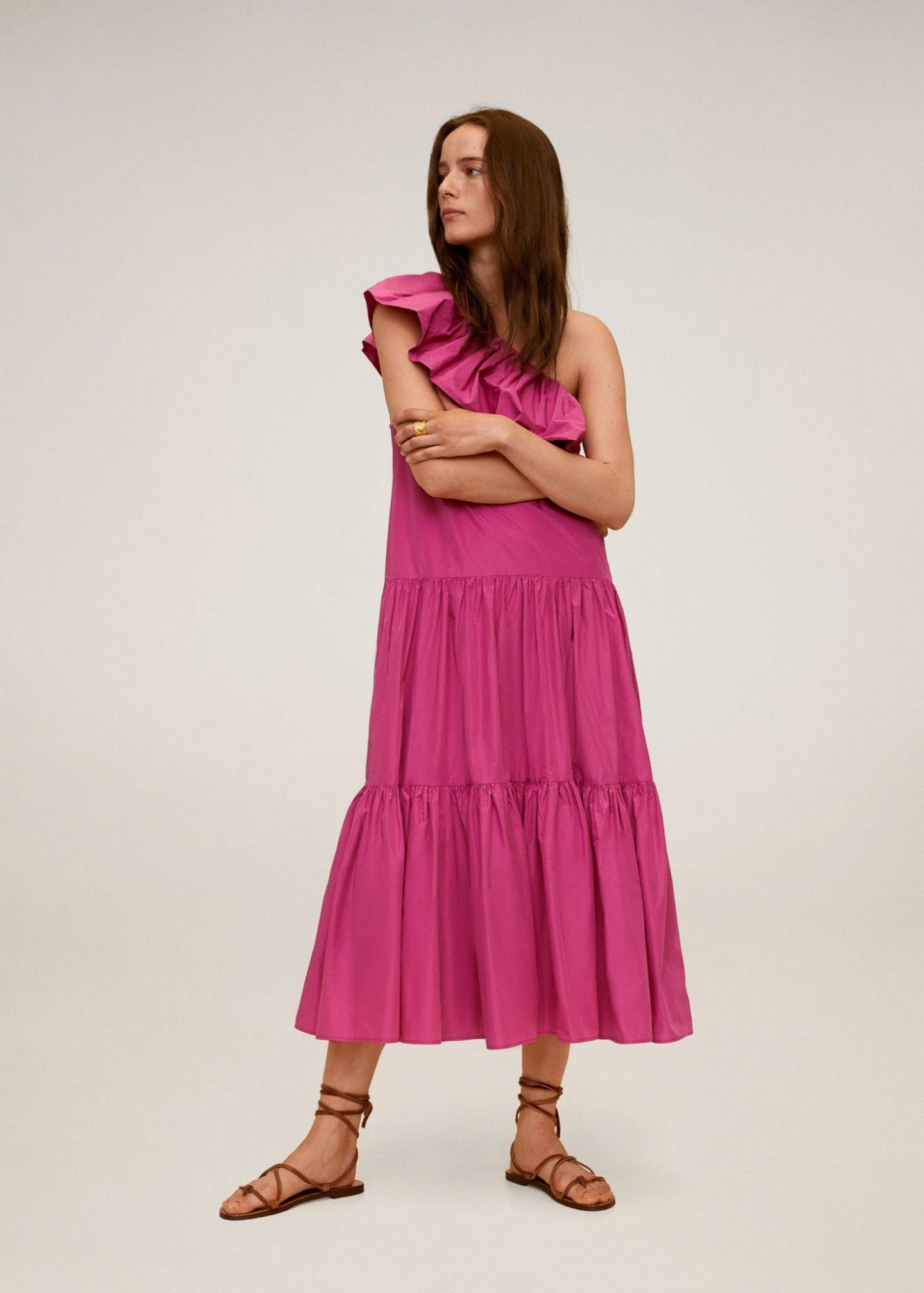 MANGO Asymmetrical Ruffle Dress