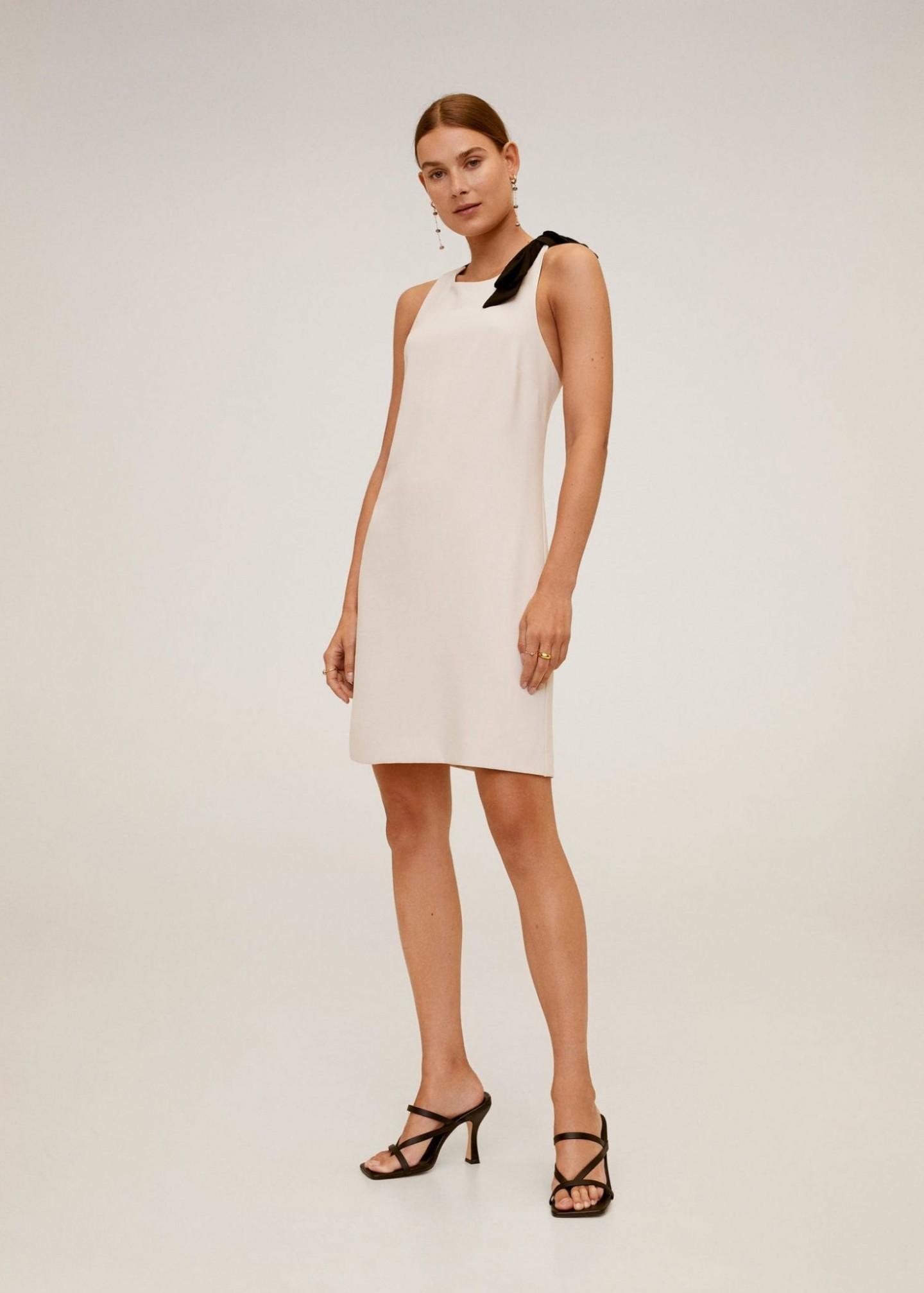 MANGO Contrast Detail Dress