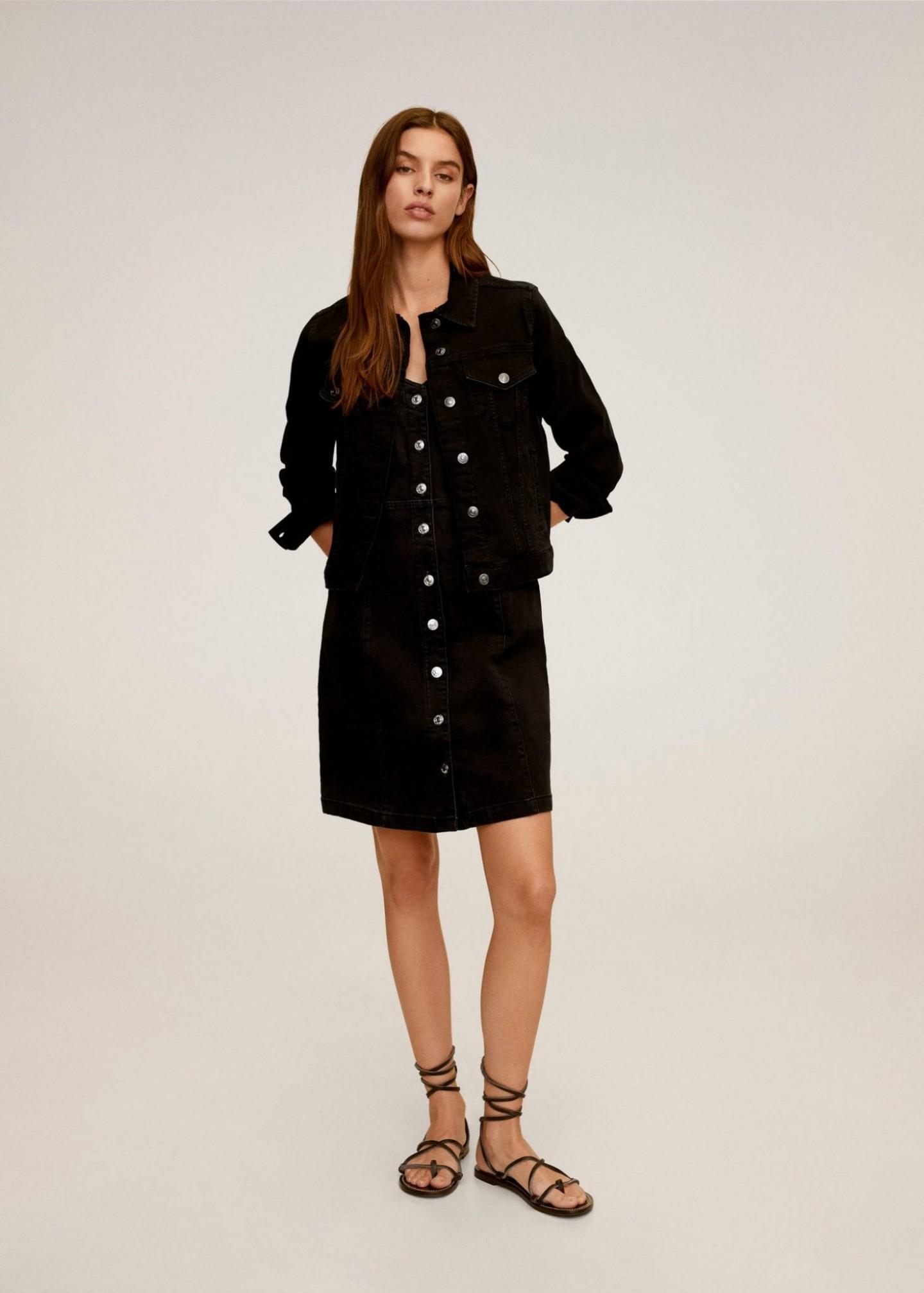 MANGO Denim Buttoned Dungarees Dress