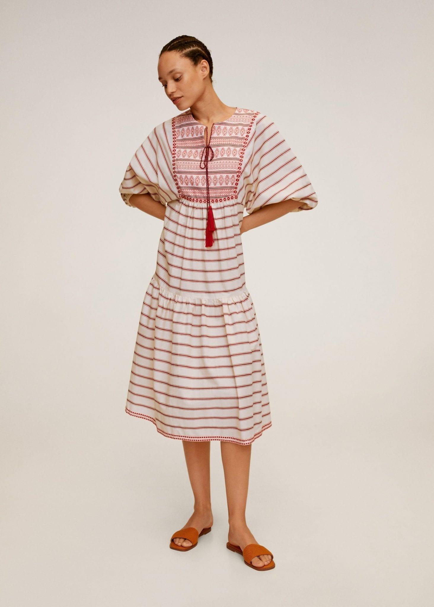 MANGO Embroidery Striped Dress