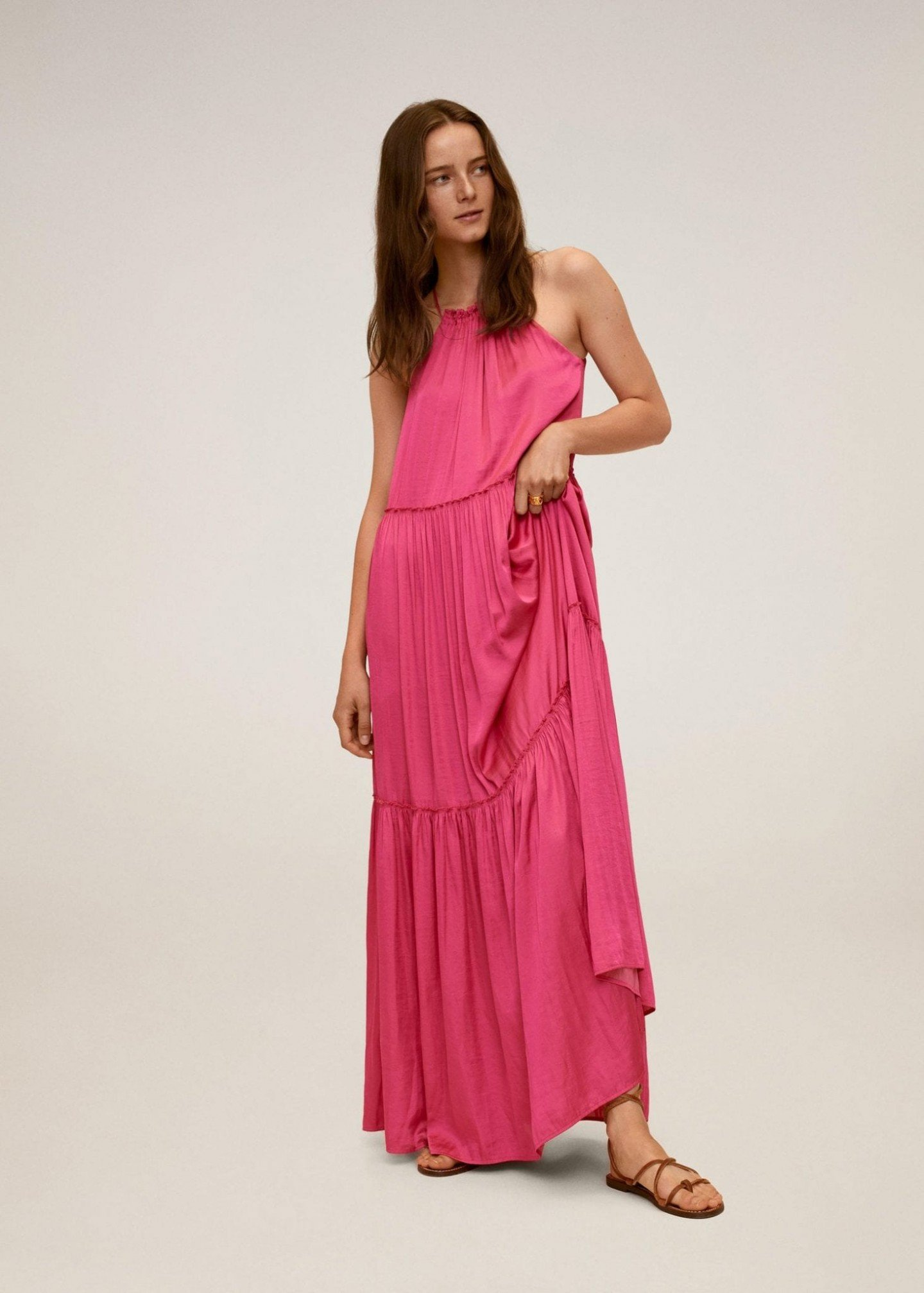 MANGO Flared Long Dress