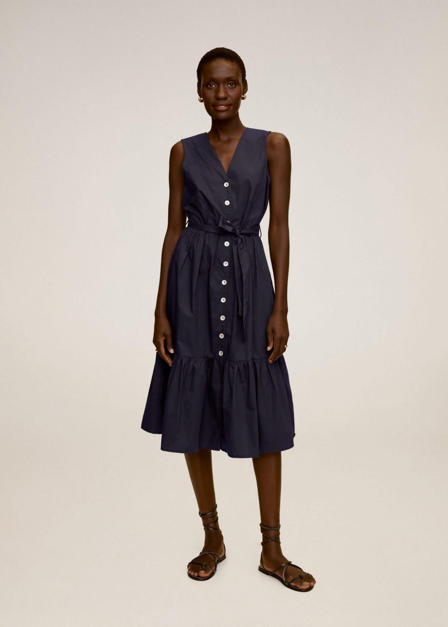 MANGO Frilled Belt Dress