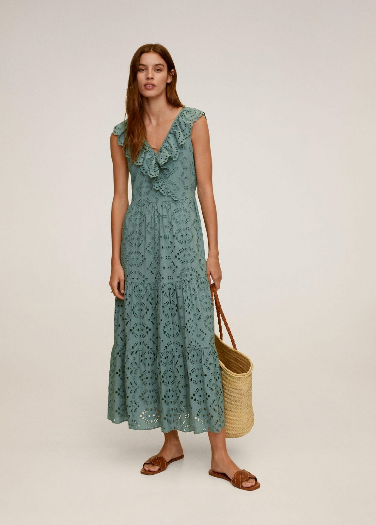 MANGO Open-work Long Dress