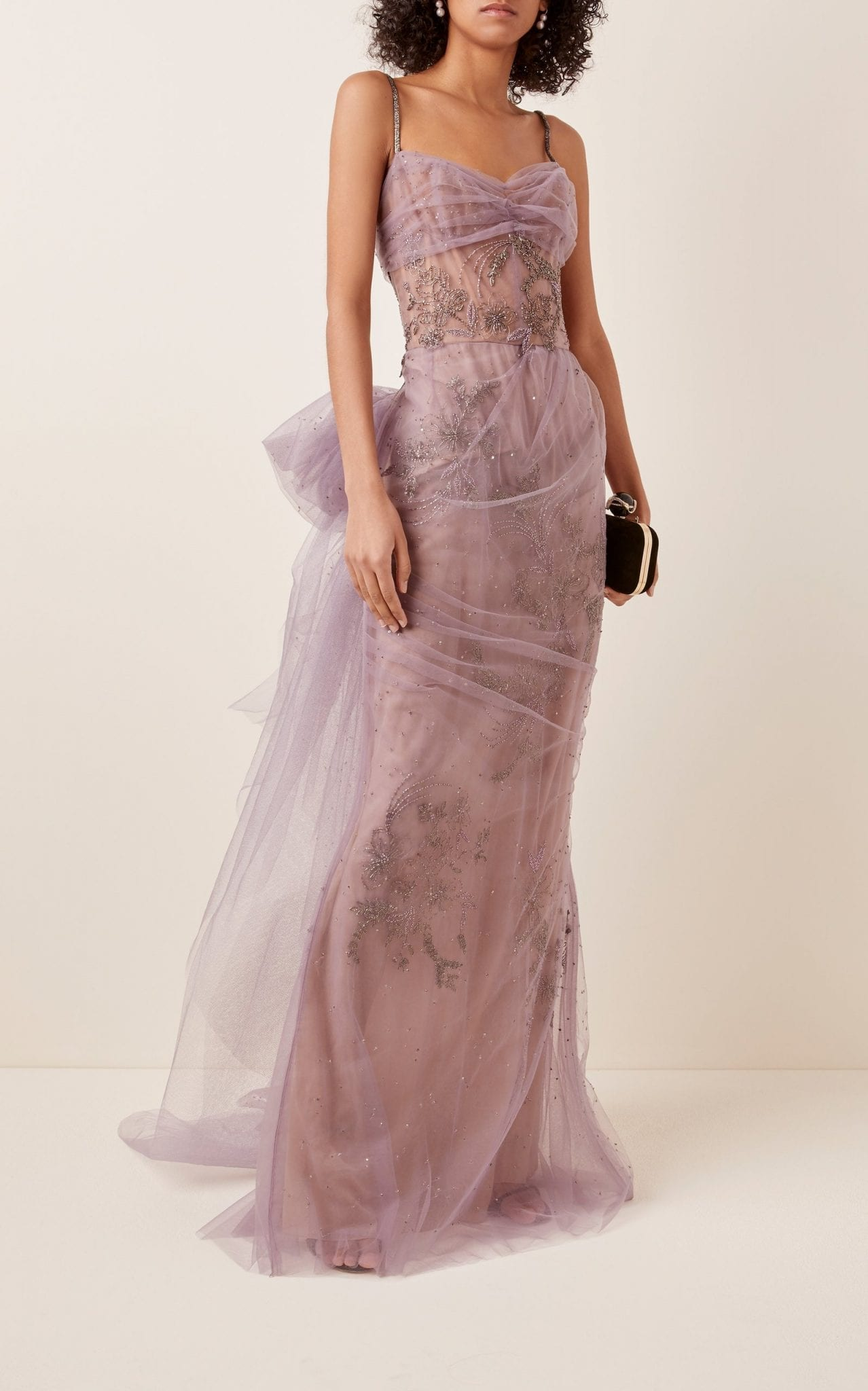 MARCHESA Bow-Embellished Tulle Gown