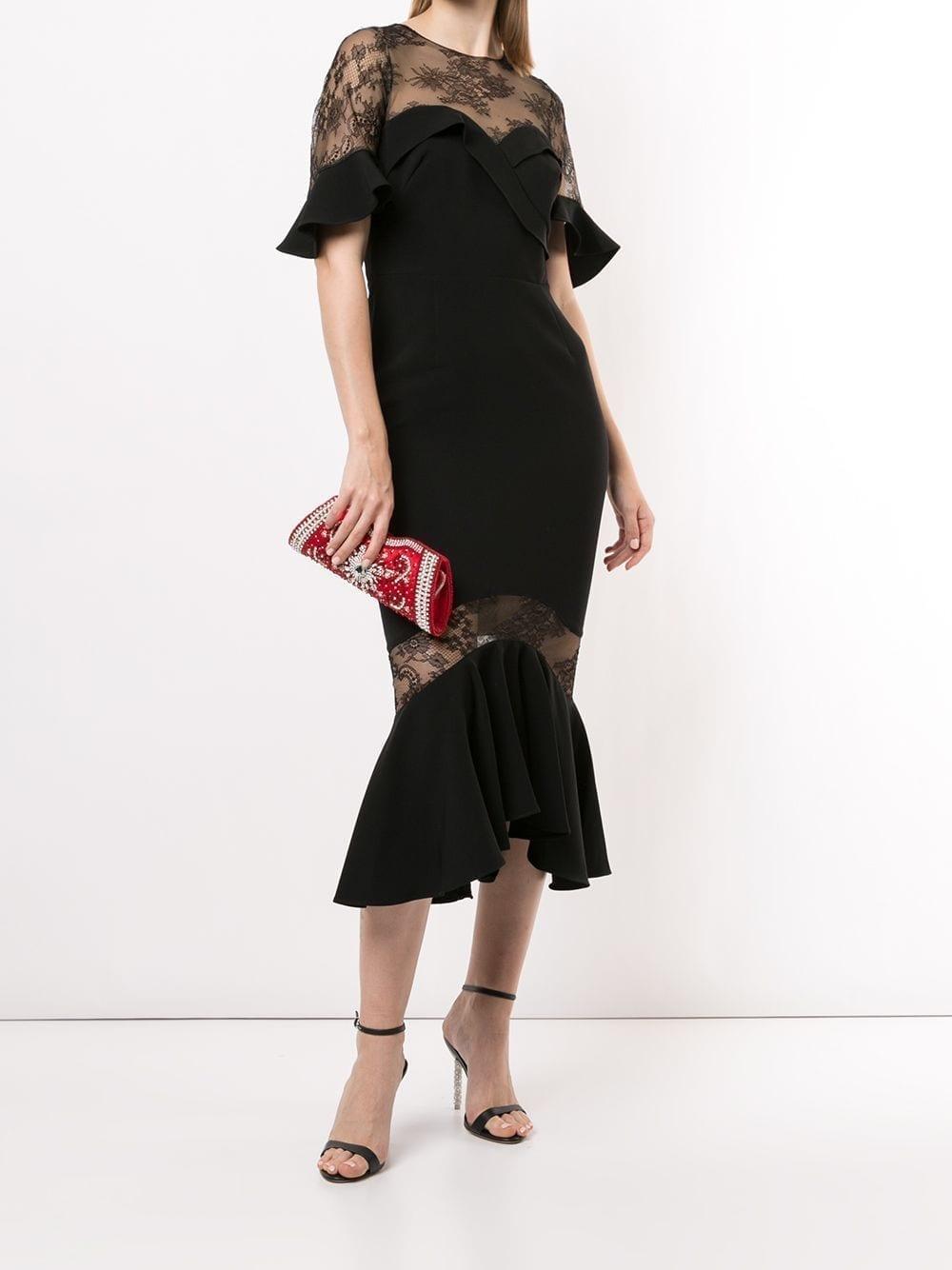 MARCHESA NOTTE Ruffled Lace Midi Dress