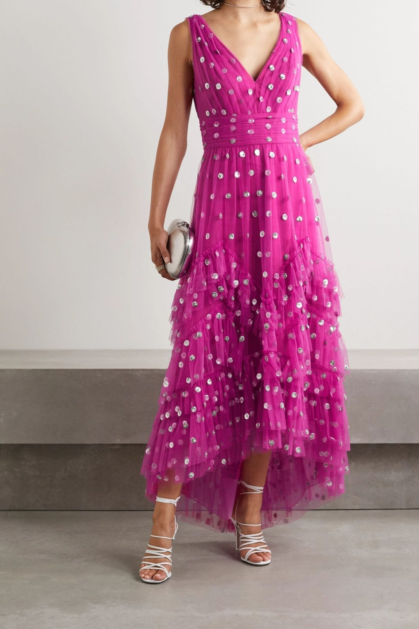 MARCHESA NOTTE Ruffled Polka-dot Sequined Tulle Gown