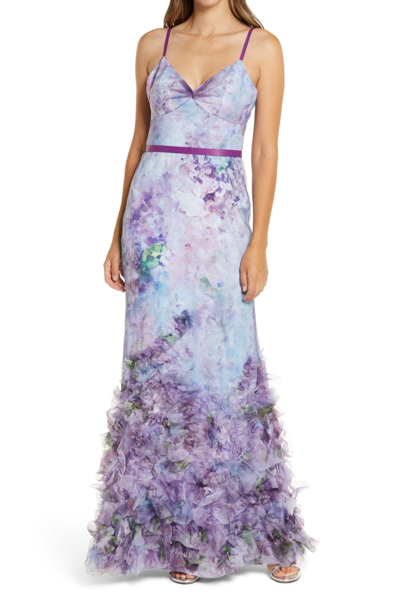 MARCHESA NOTTE Sleeveless Ruffle Tulle V-Neck Gown
