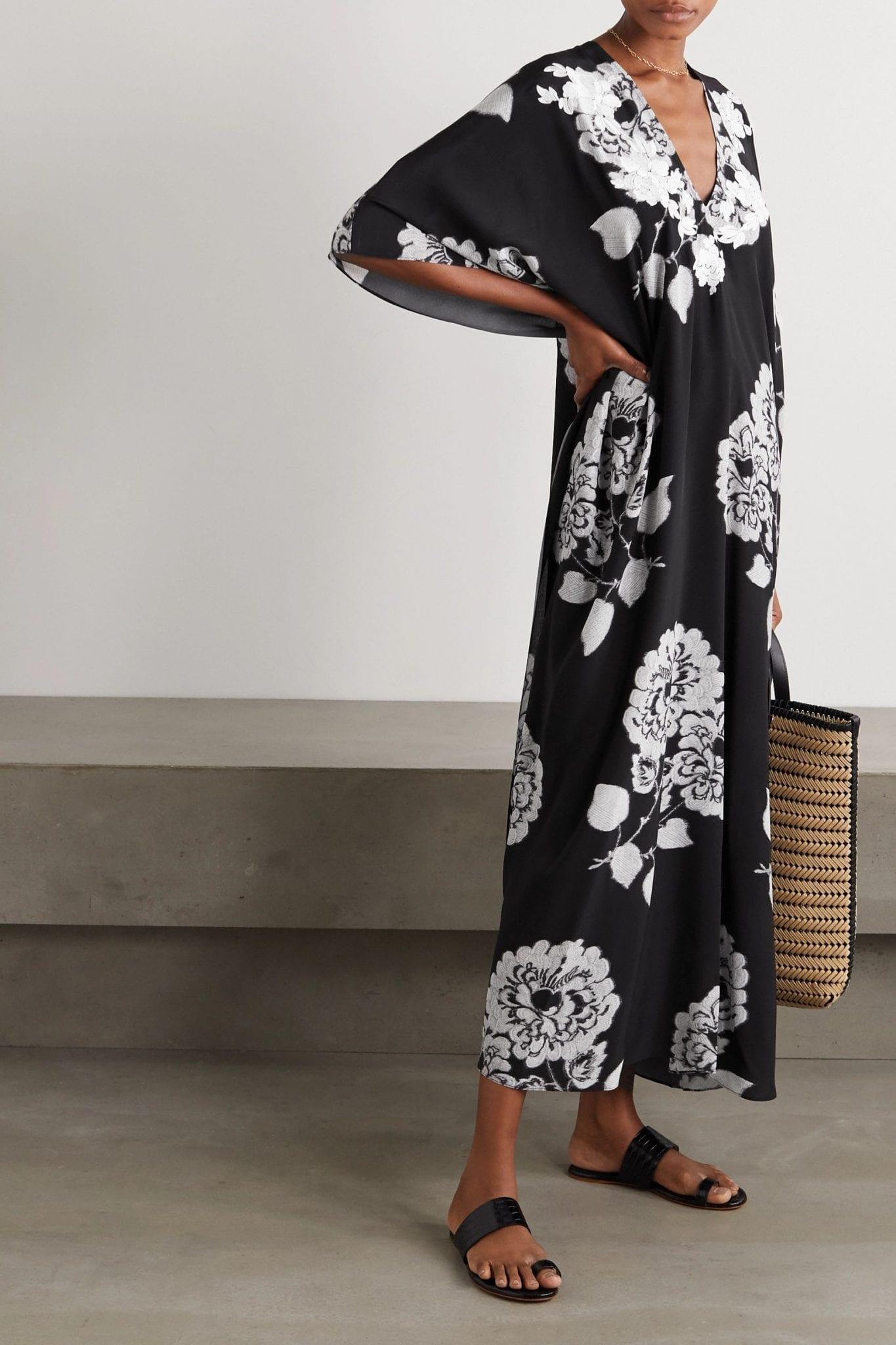 MARIE FRANCE VAN DAMME Boubou Embroidered Cotton-voile Kaftan Dress