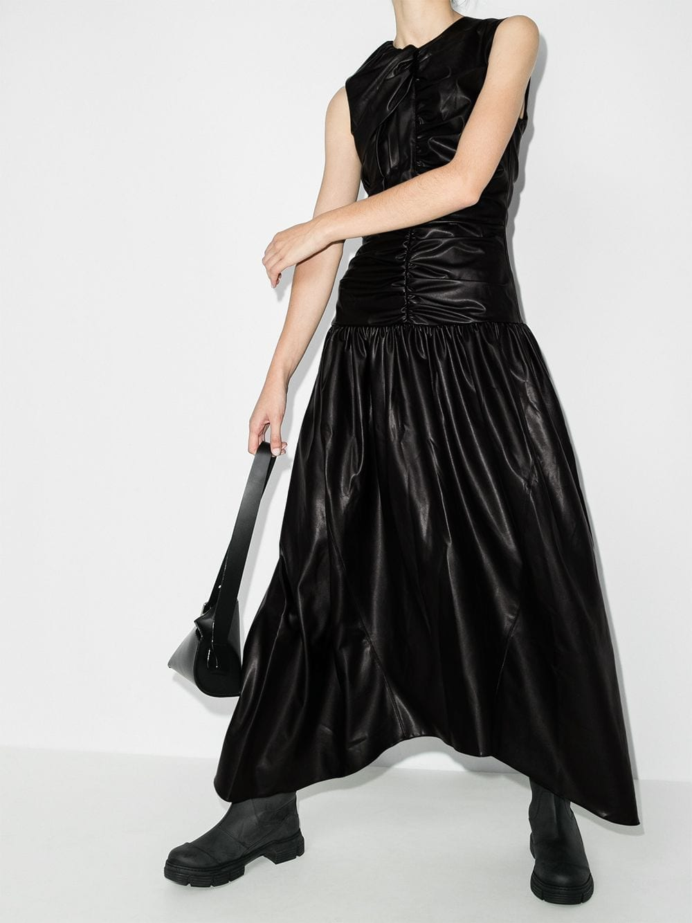 MARKOO Gathered Leather Effect Dress