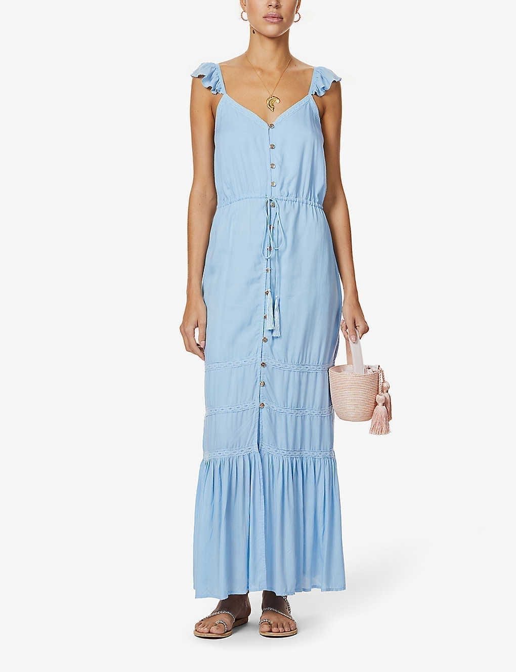 MELISSA ODABASH Alanna Embroidered Woven Midi Dress