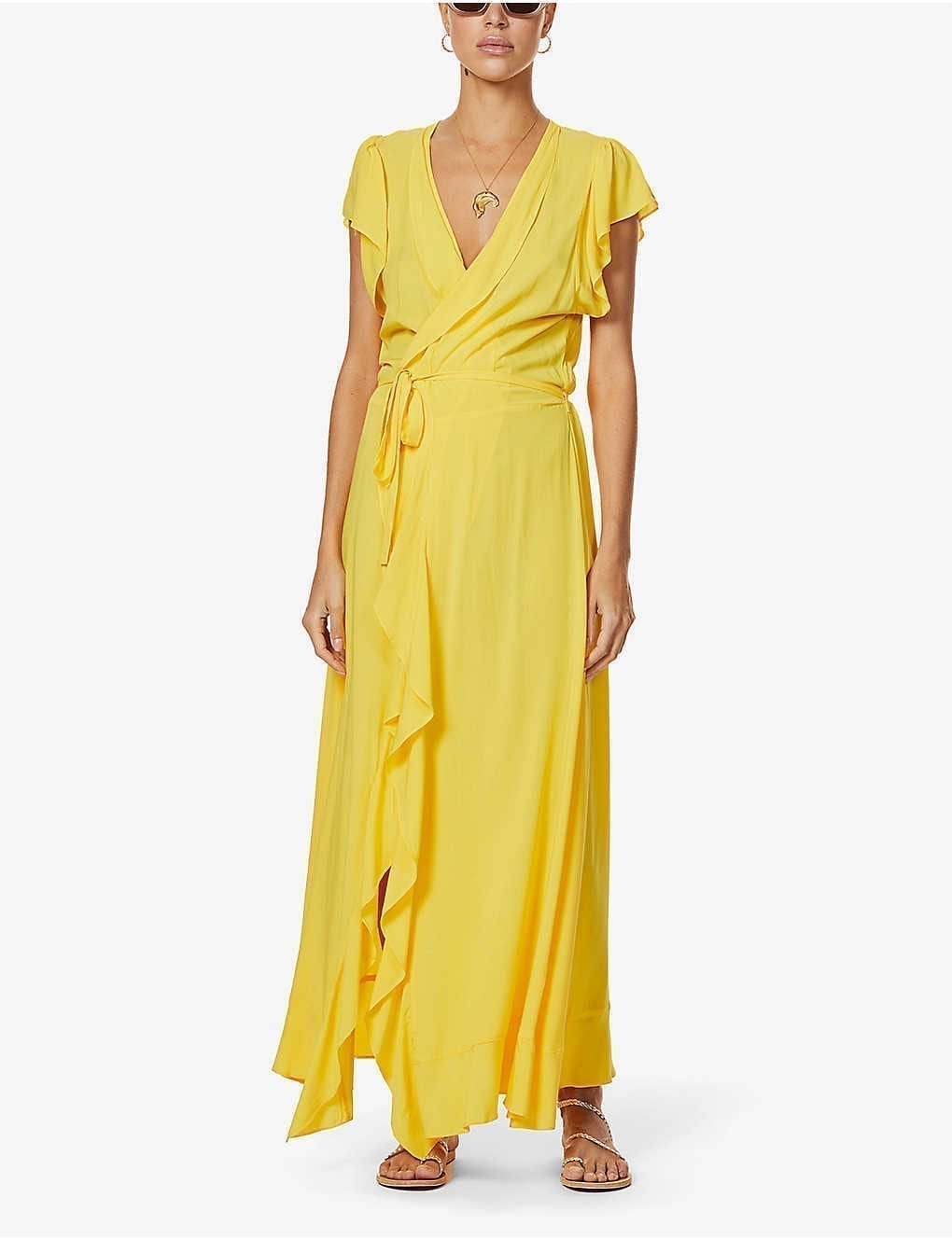 MELISSA ODABASH Brianna Ruffled Woven Maxi Dress