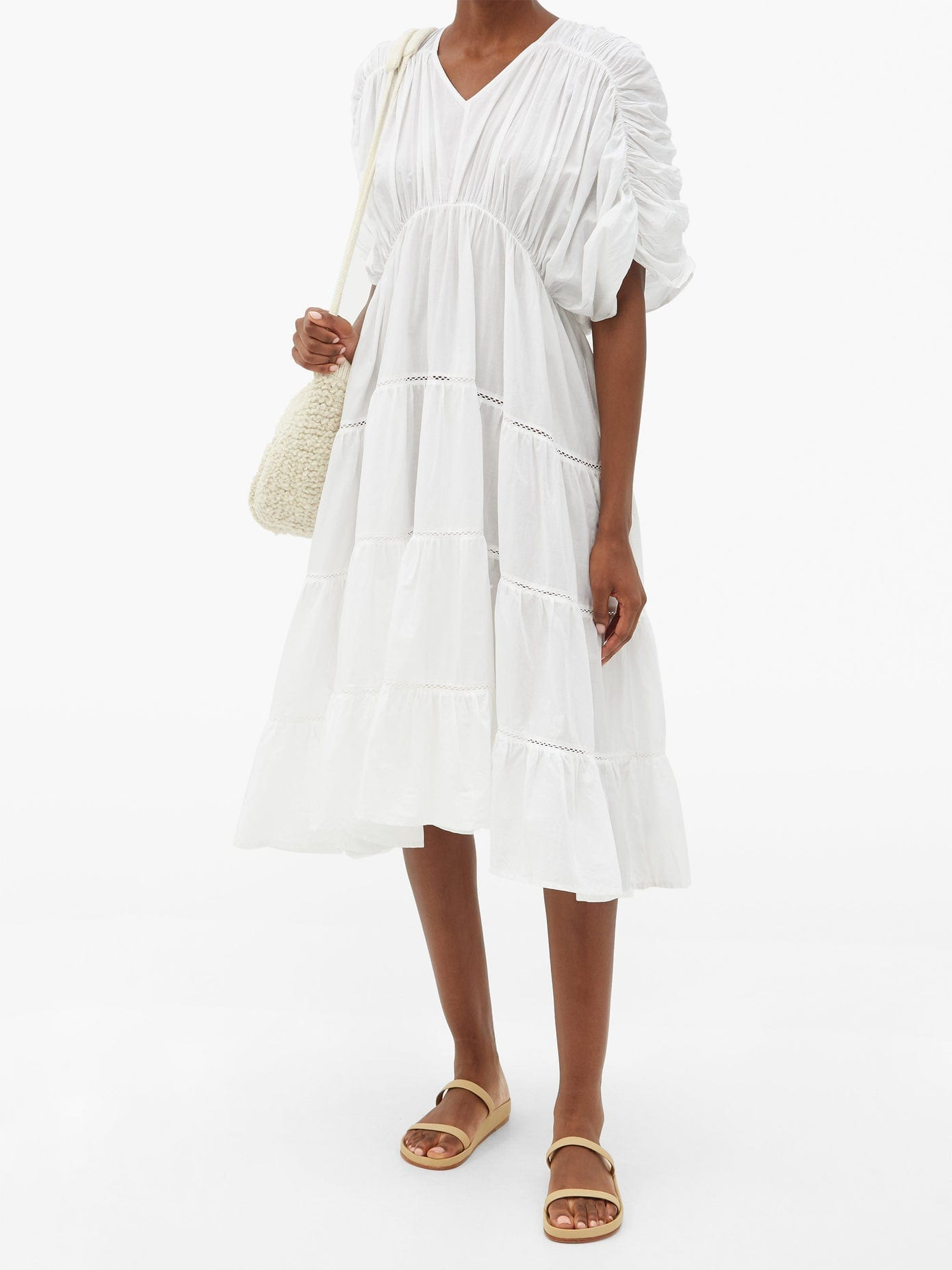 MERLETTE Athene Ruched Cotton-lawn Dress