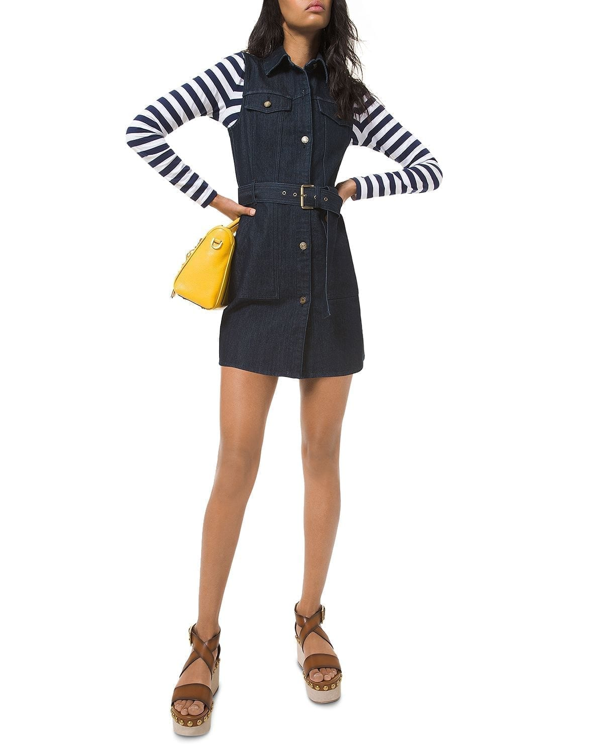 MICHAEL KORS Denim Belted Mini Dress