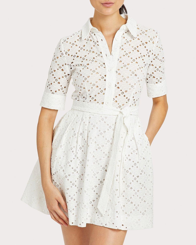 MILLY Eyelet Cotton Shirt Dress