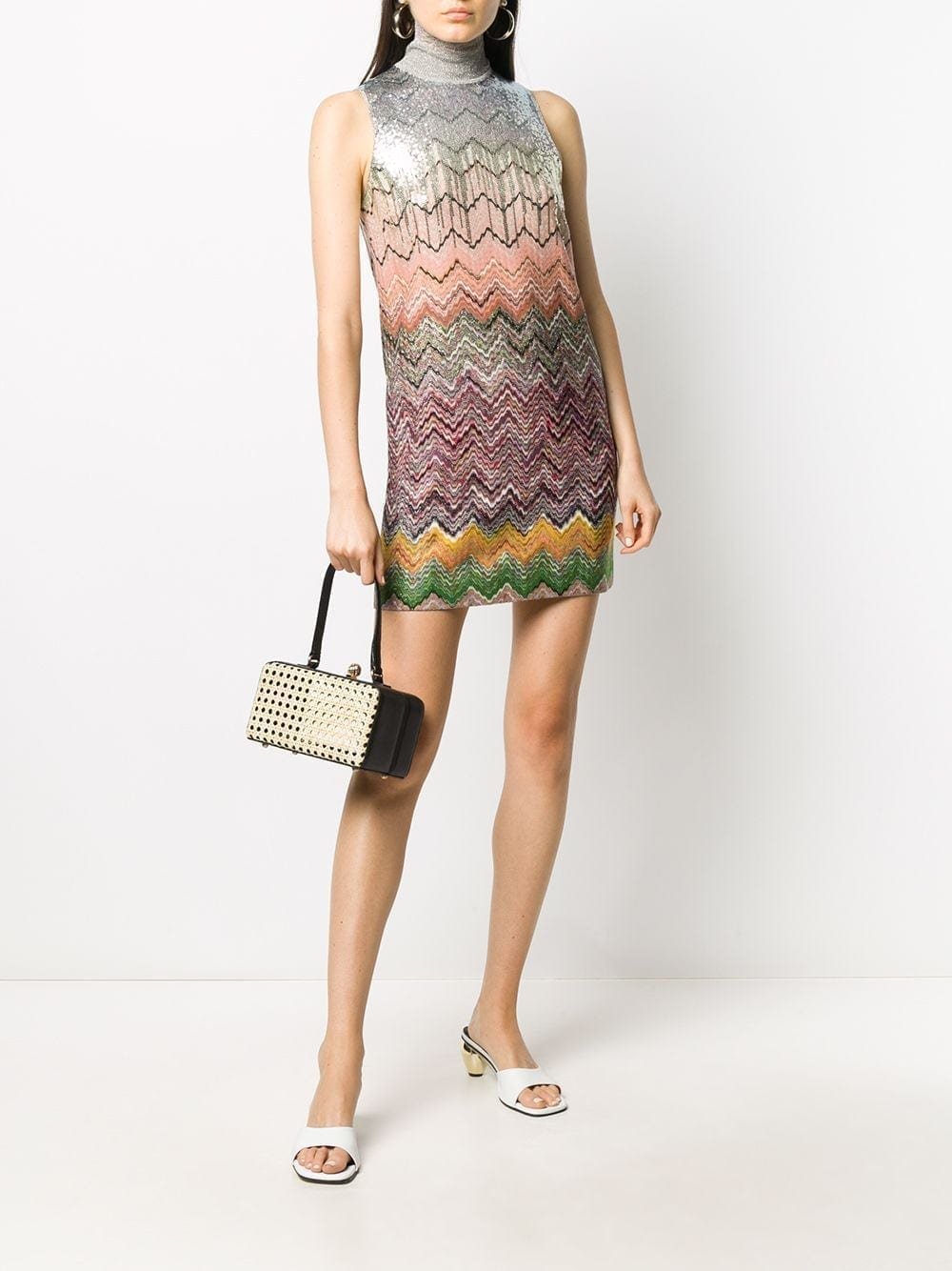 MISSONI Sequined Zigzag Cocktail Dress