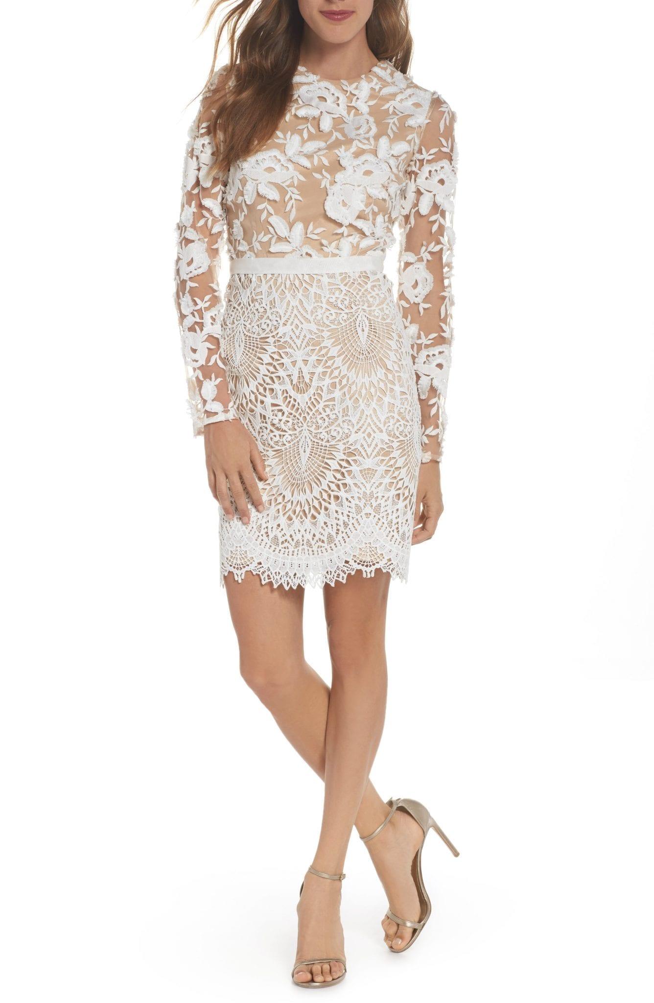 ML MONIQUE LHUILLIER Calypso Long Sleeve Lace Cocktail Dress