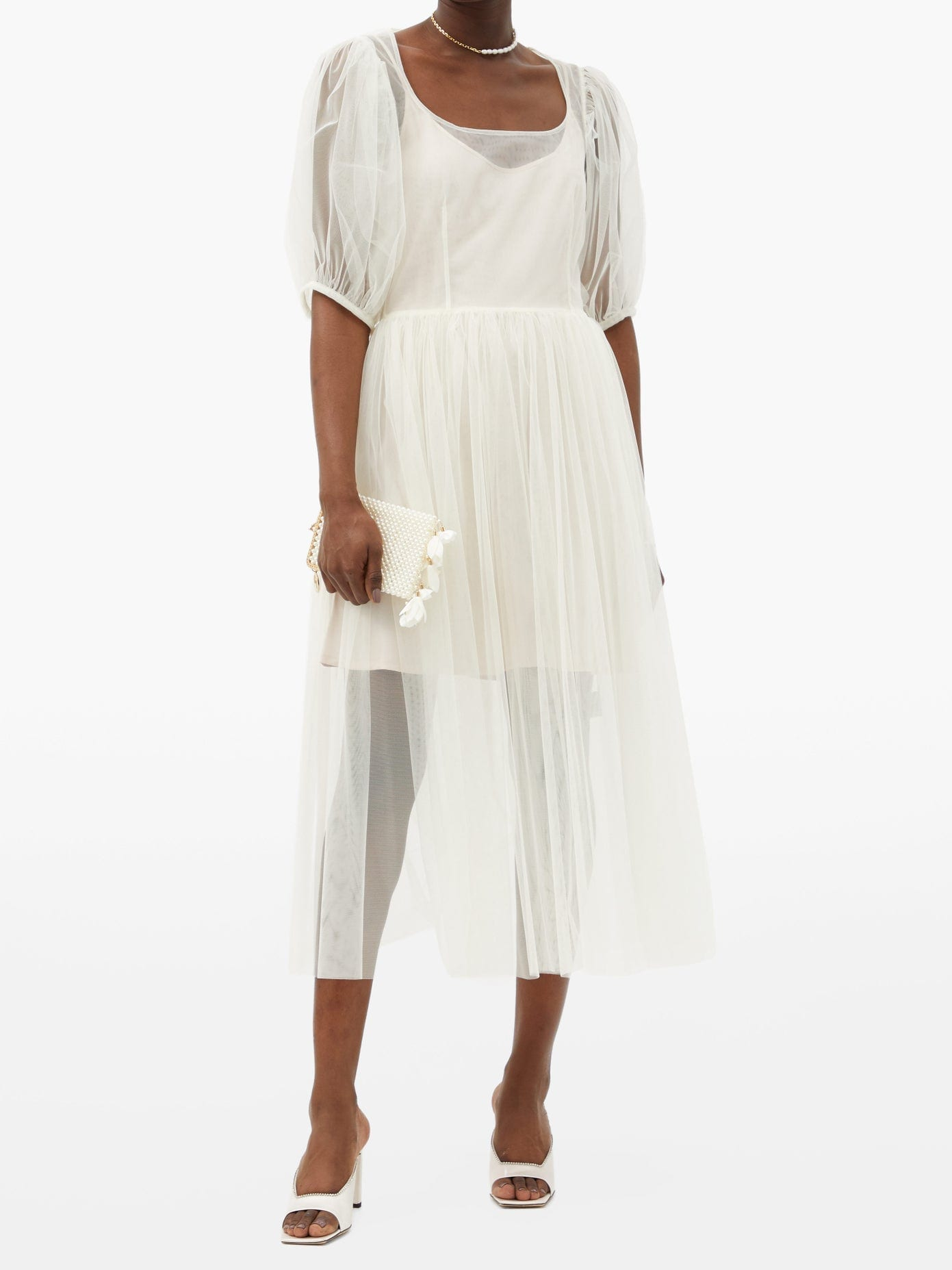 MOLLY GODDARD Gwyneth Puff-sleeved Tulle Midi Dress