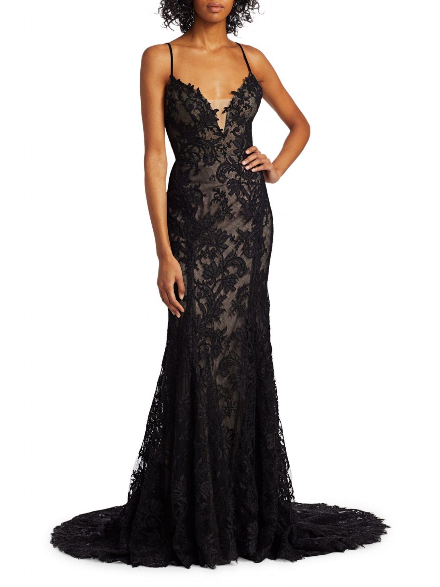 MONIQUE LHUILLIER Lace Slip Sheath Gown