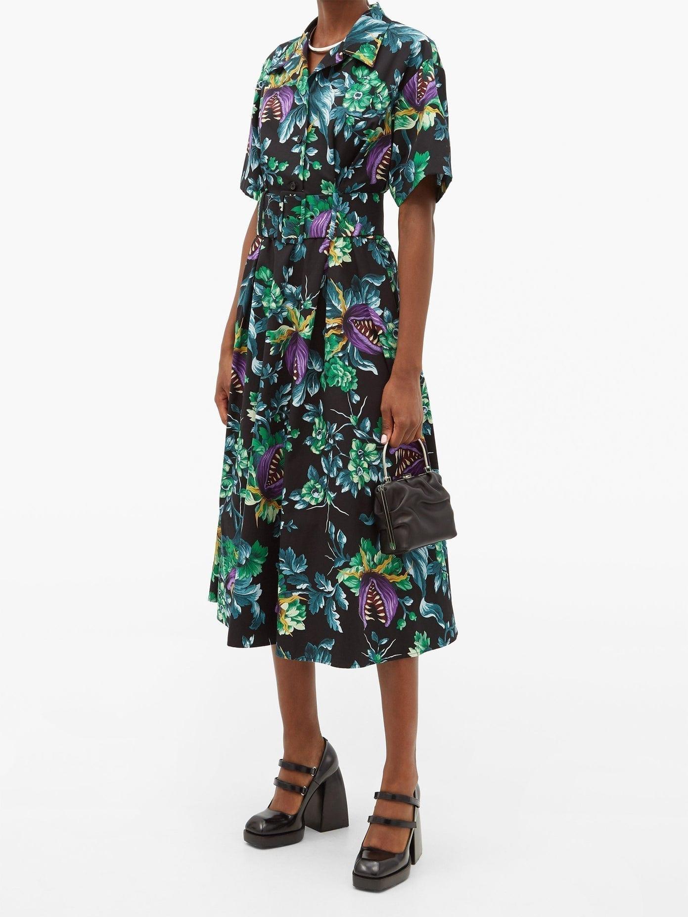 MSGM Carnivorous Plant-print Cotton Shirt Dress