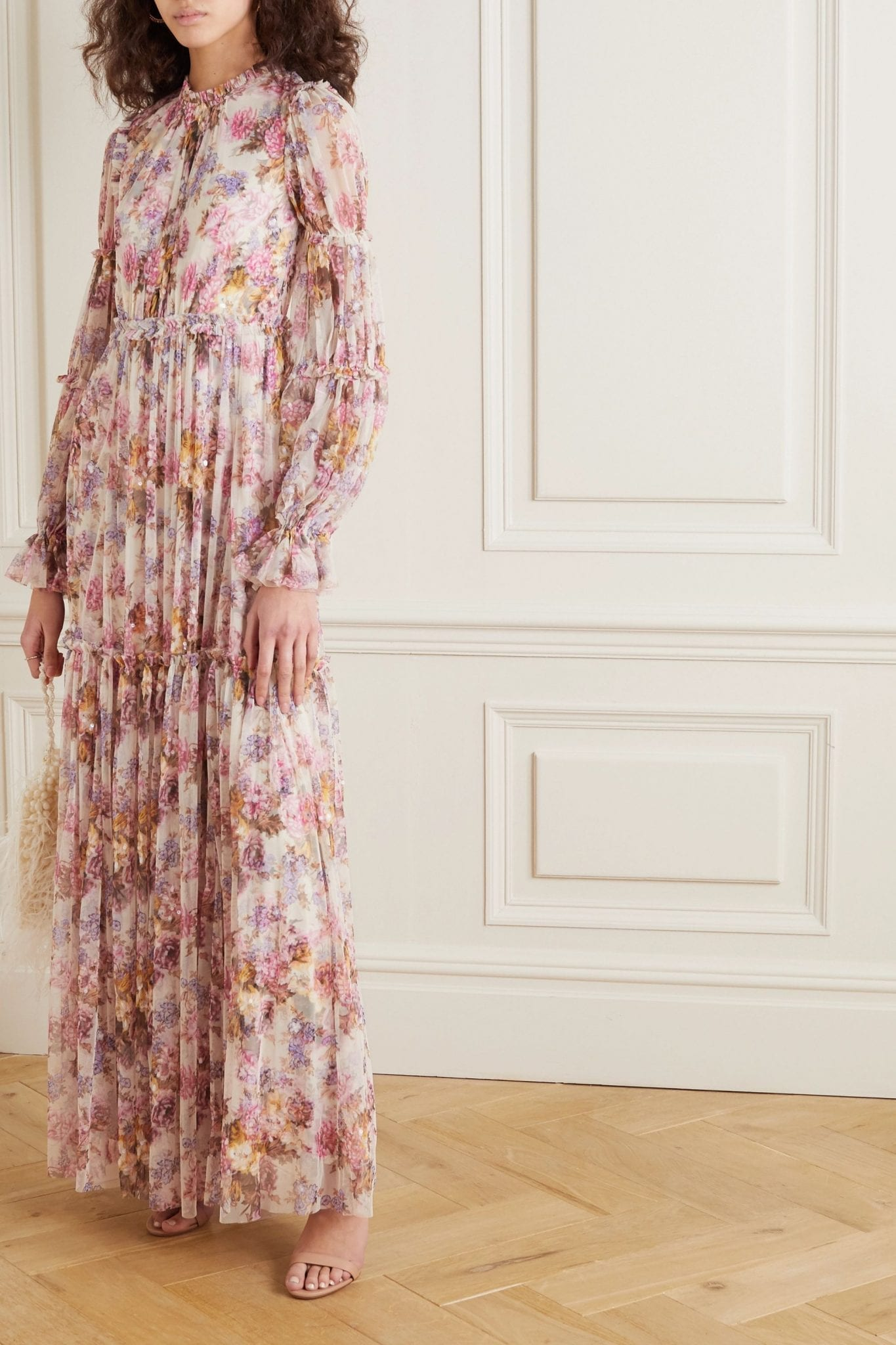 NEEDLE & THREAD + Jasmine Hemsley Harmony Sequin-embellished Floral-print Tulle Gown