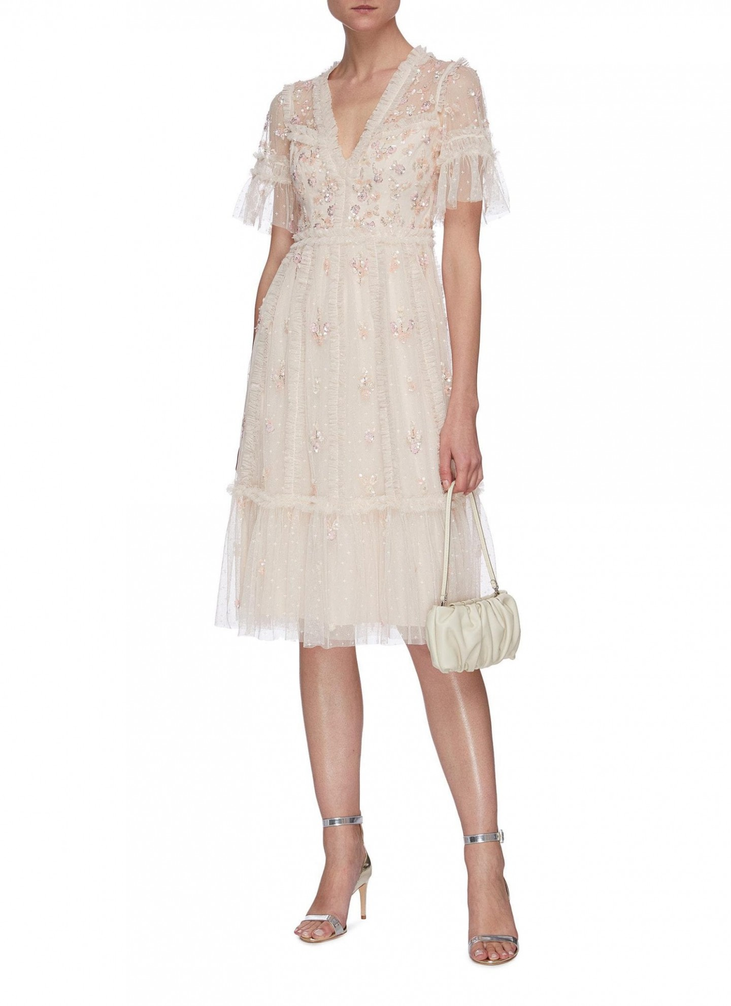 NEEDLE & THREAD Penelope Shimmer Sequin Embellished Short Sleeve Tulle Midi Dress