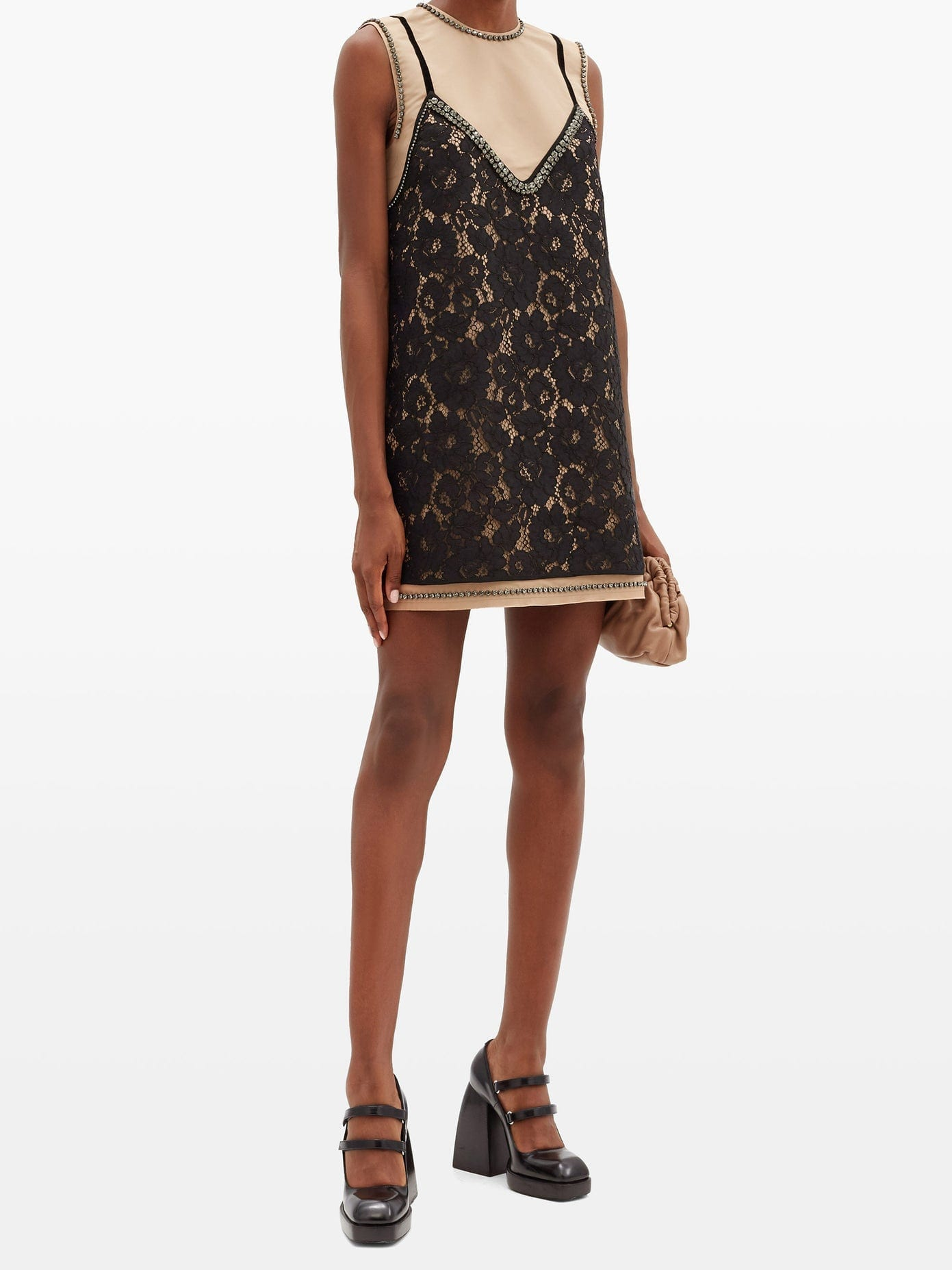 NO. 21 Lace-overlay Crystal-embellished Mini Dress