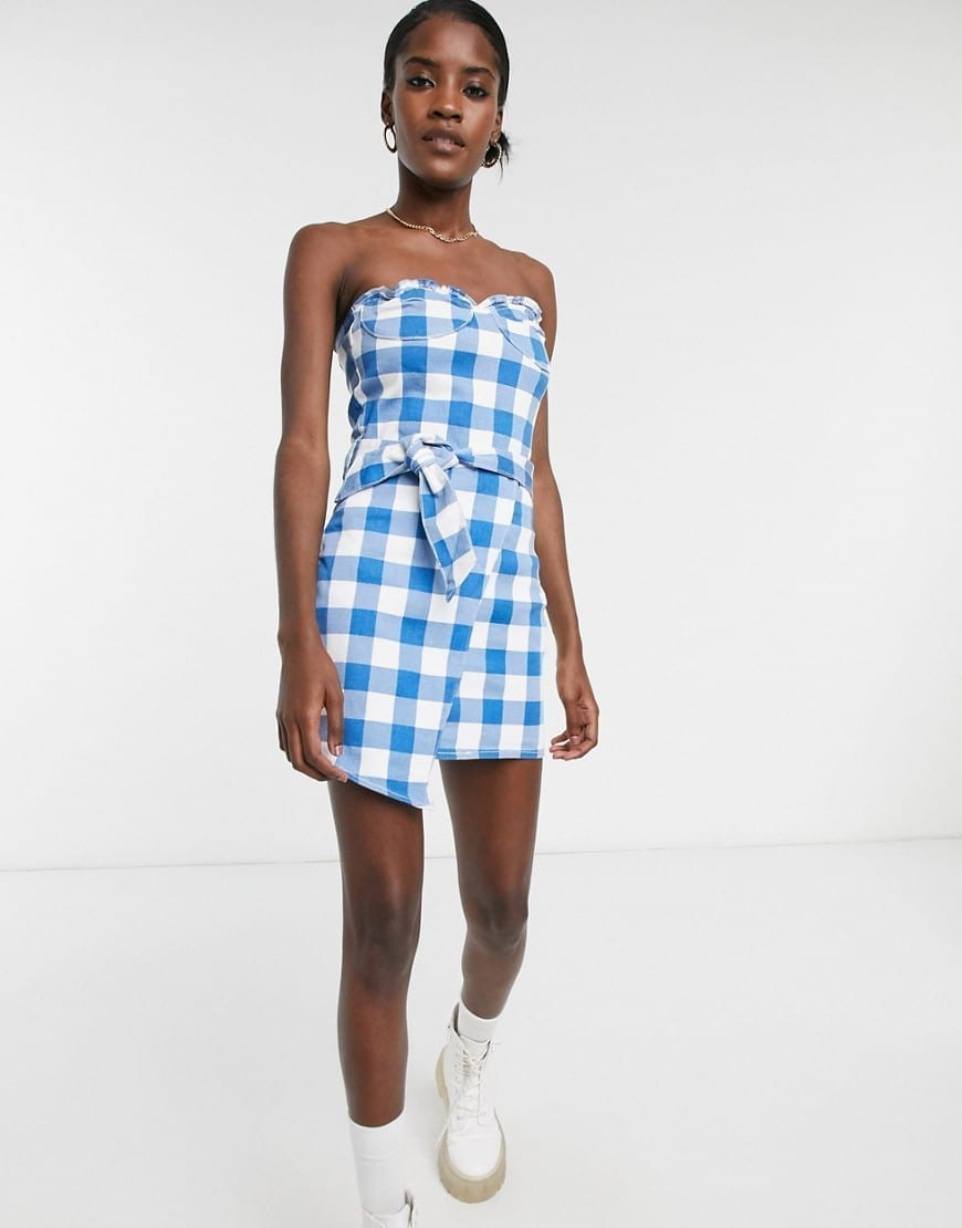ONE ABOVE ANOTHER Structured Denim Mini Dress