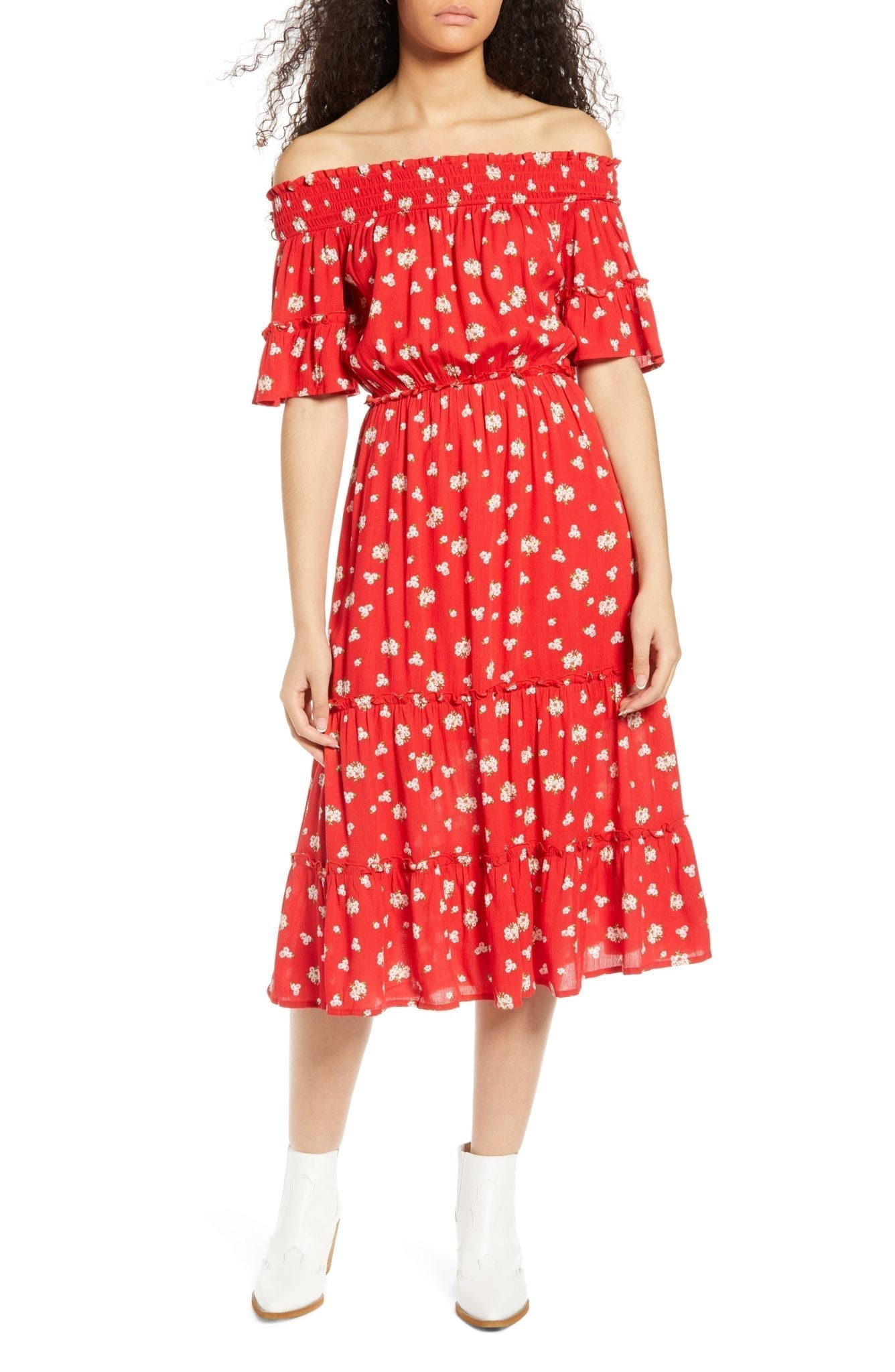 ONE CLOTHING Floral Off the Shoulder Midi Dress