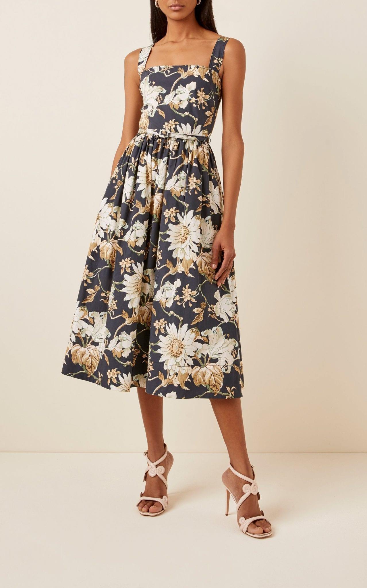 OSCAR DE LA RENTA Flora-Print Pleated Cotton-Blend Dress