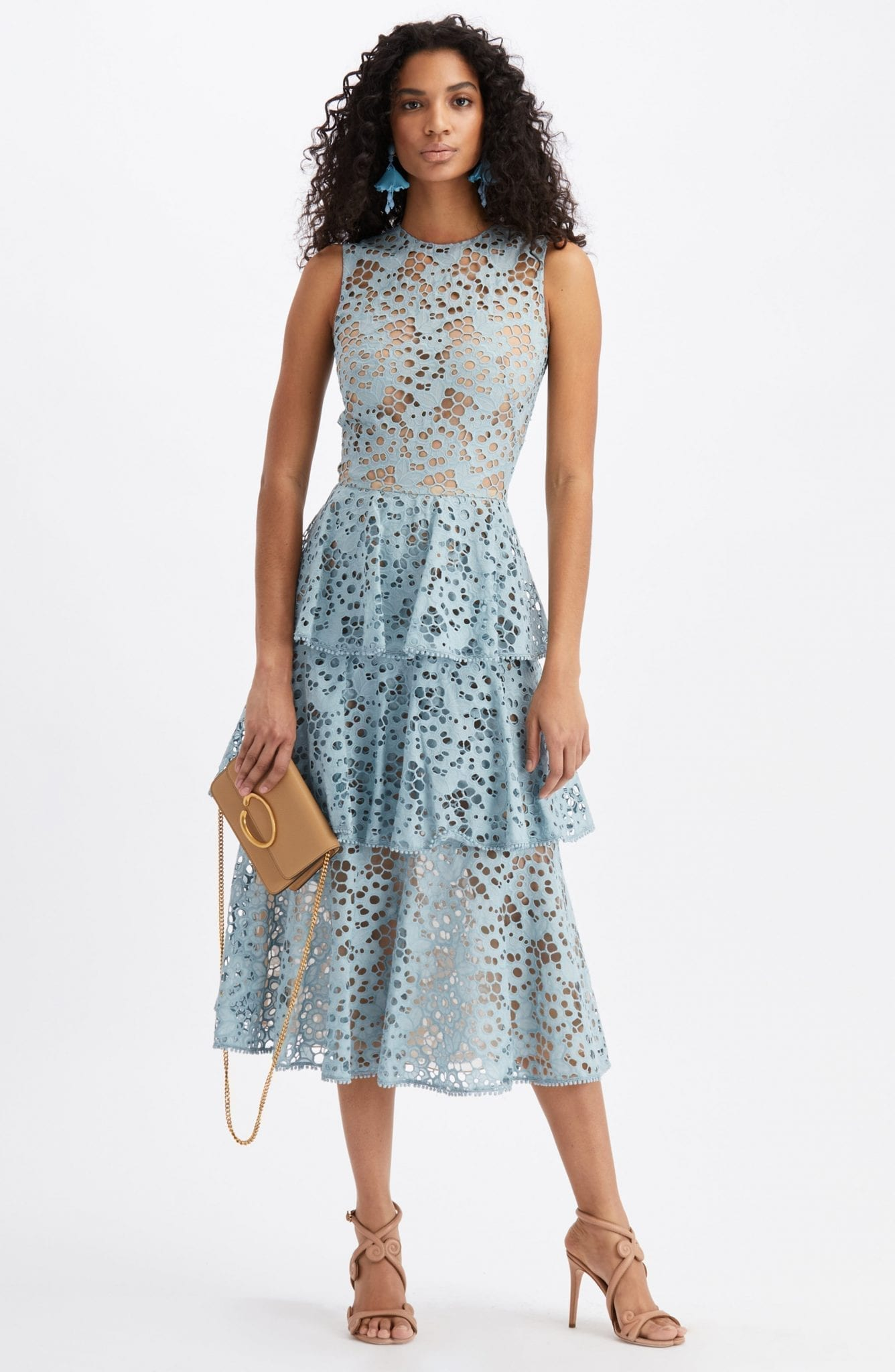 OSCAR DE LA RENTA Tiered Eyelet Midi Dress