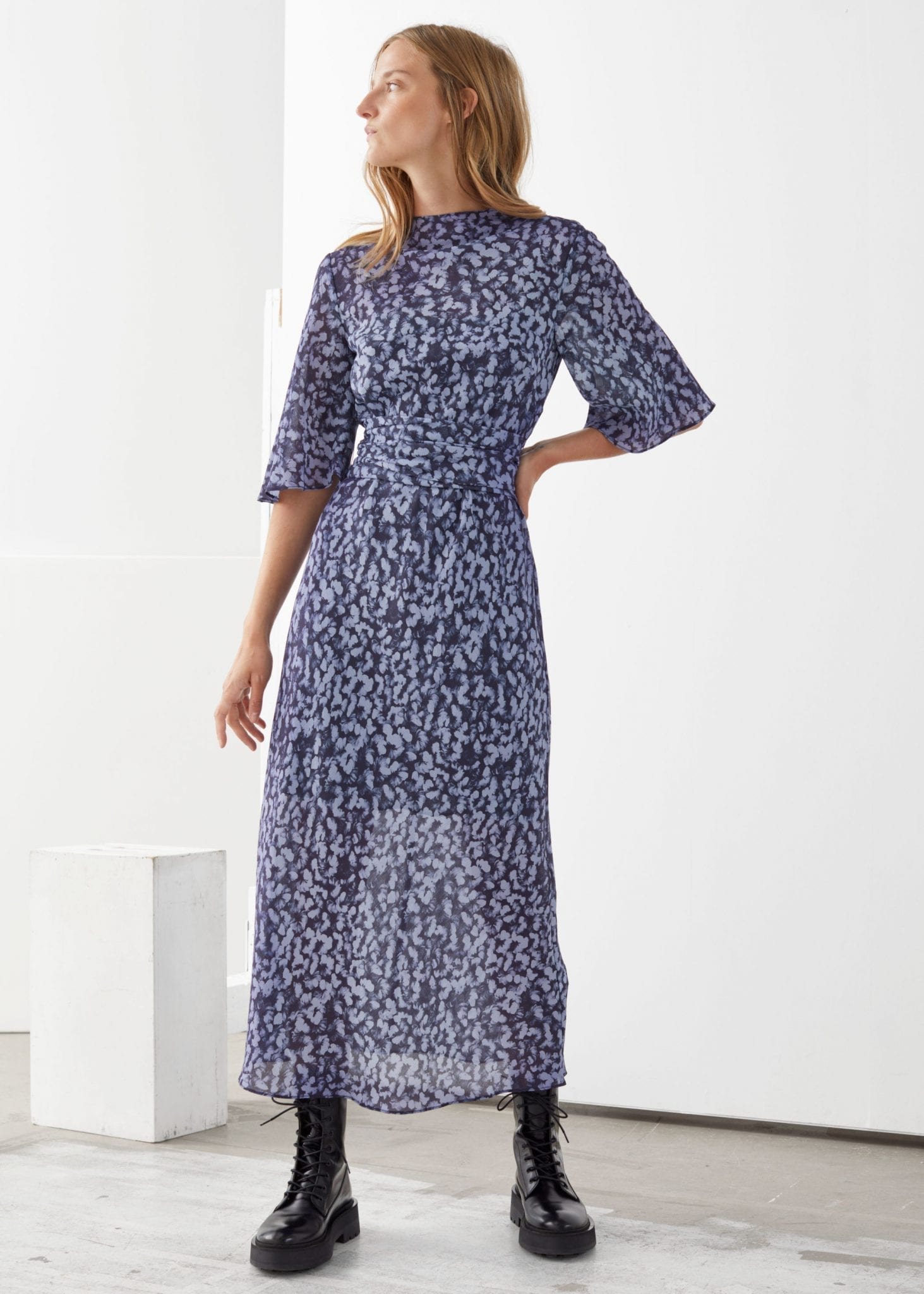 & OTHER STORIES Belted Midi Print Dress