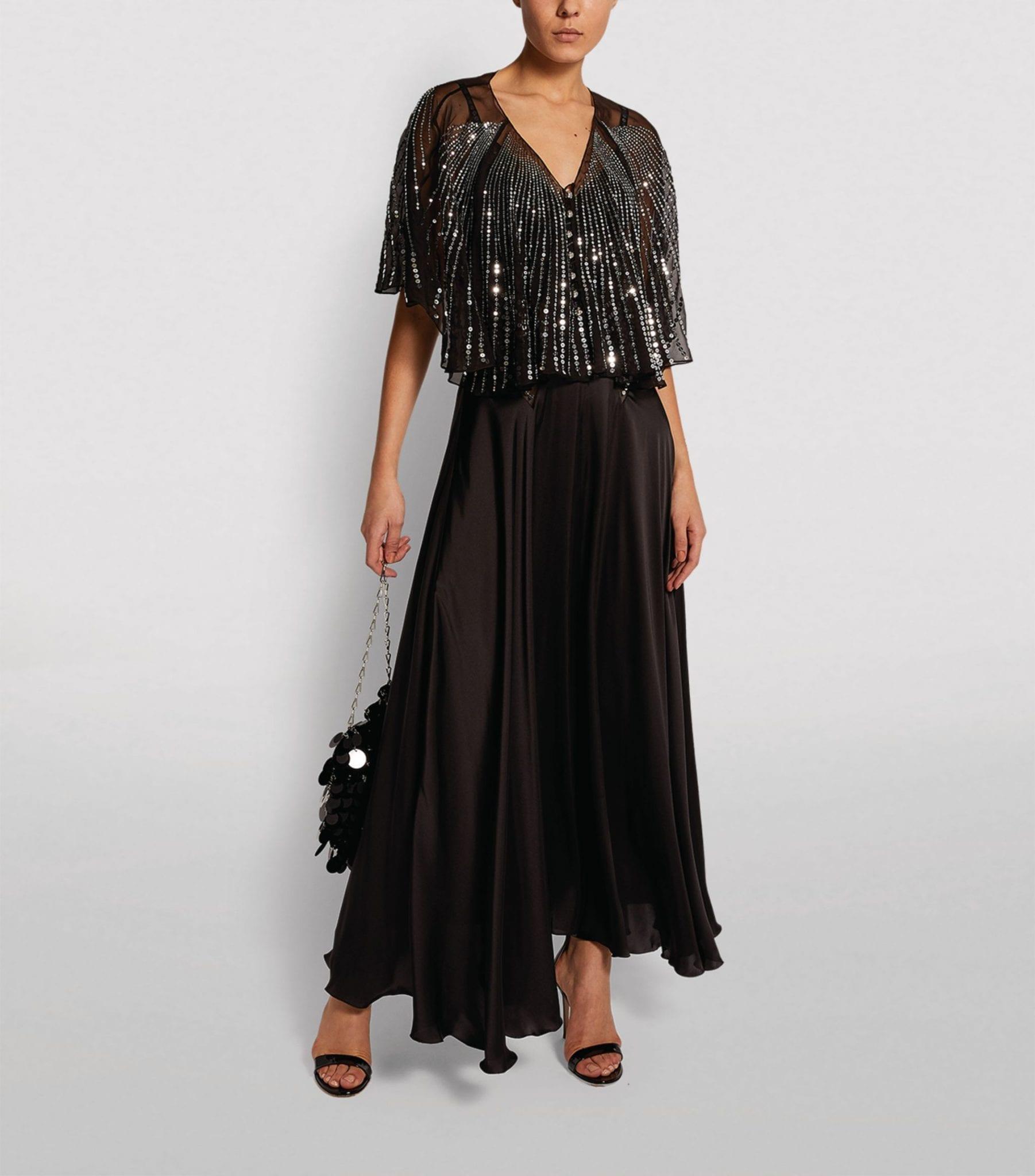 PACO RABANNE Embellished Cape Maxi Dress