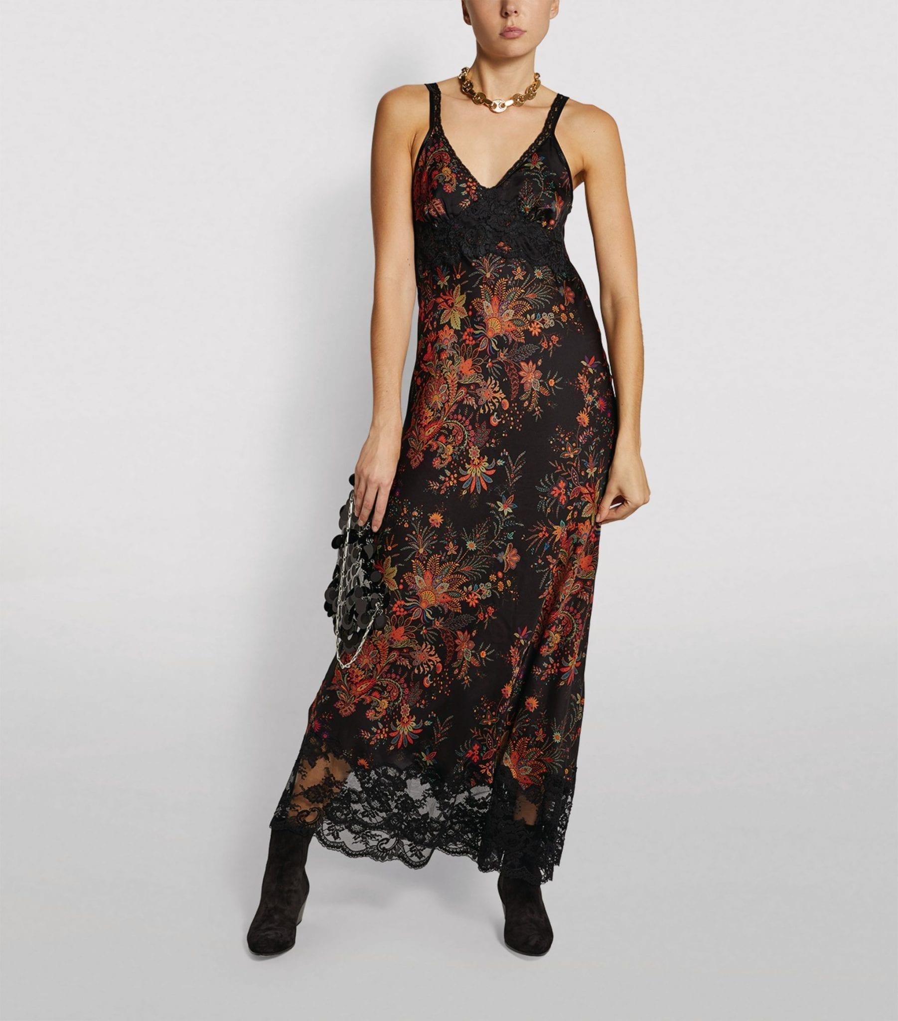 PACO RABANNE Floral Satin Slip Dress