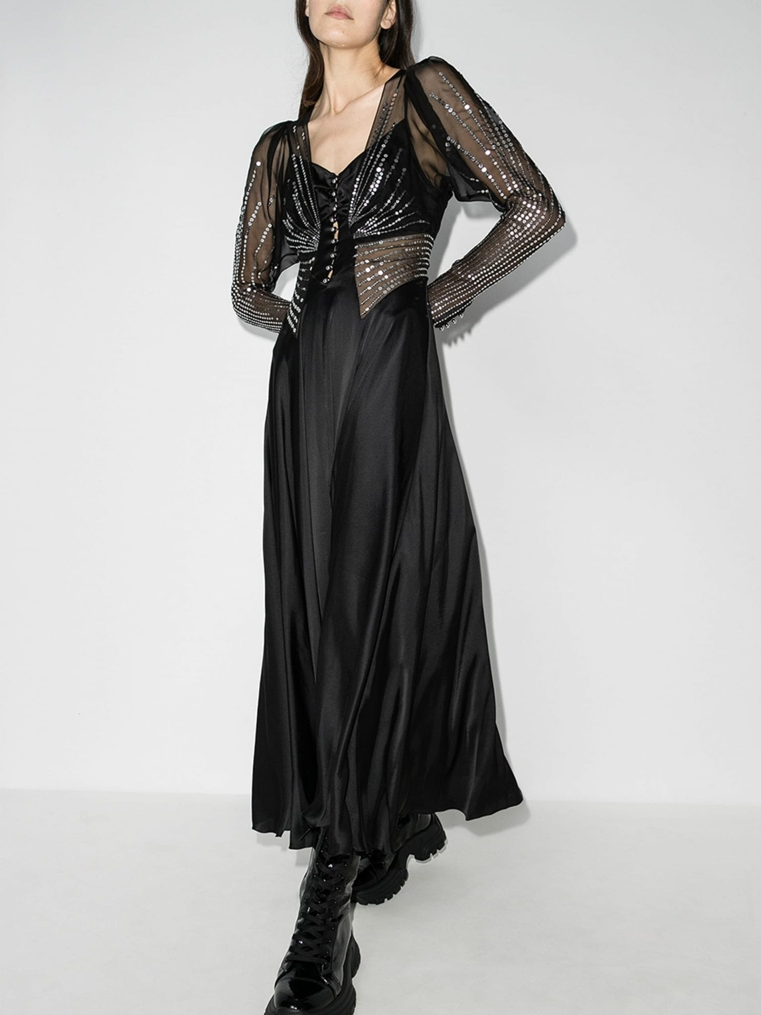 PACO RABANNE Layered Sequin Maxi Dress