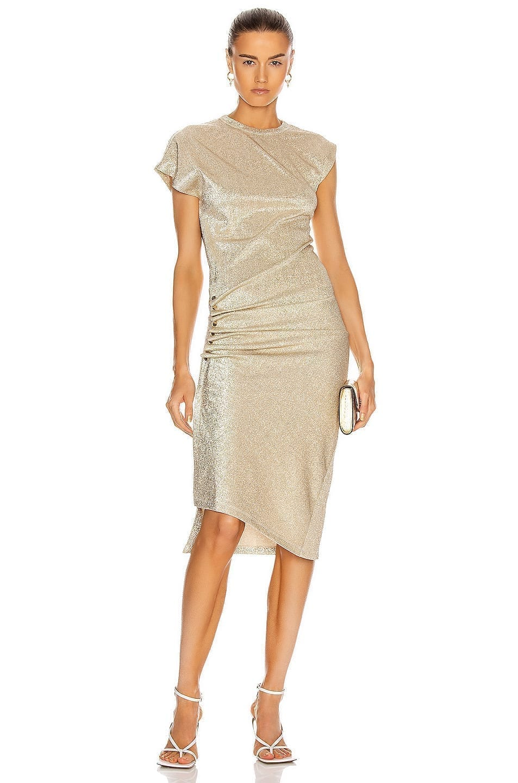 PACO RABANNE Metallic Side Ruched Dress